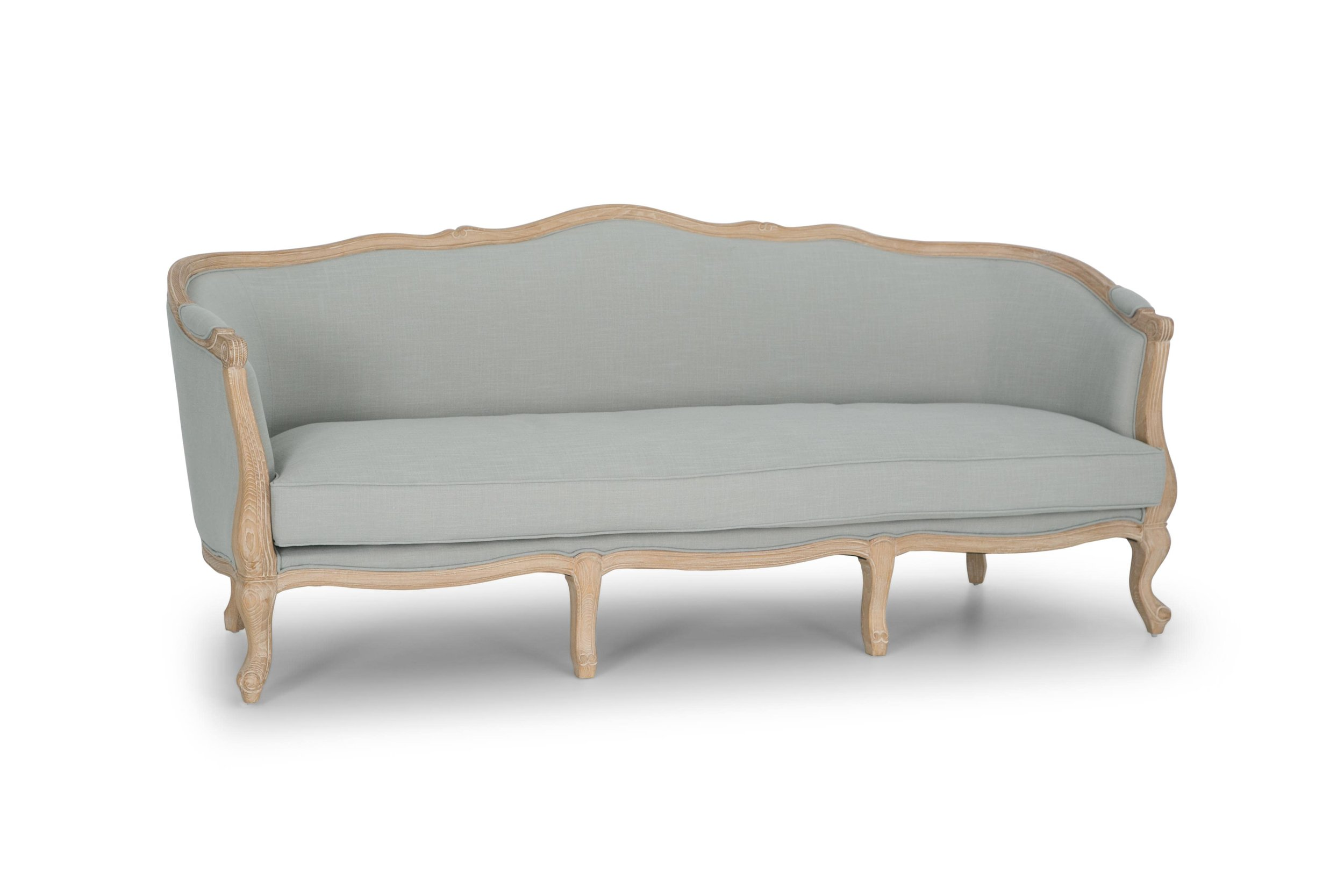 Sofia Sofa Natural Oak Frame, Gray Upholstery