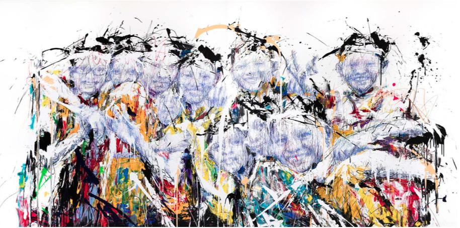 Hom Nguyen,  Trajectoire , techniques mixtes sur toile, 2017. Courtoisie de l'artiste et d'A2Z Gallery