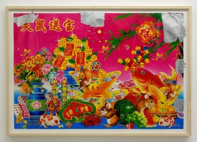 Ikezaki Takyua,  Someone's Wish for Someone (Mouse) , found Chinese New Year picture, 2013. Courtesy of the artist and S.O.C. Satoko Oe Contemporary.