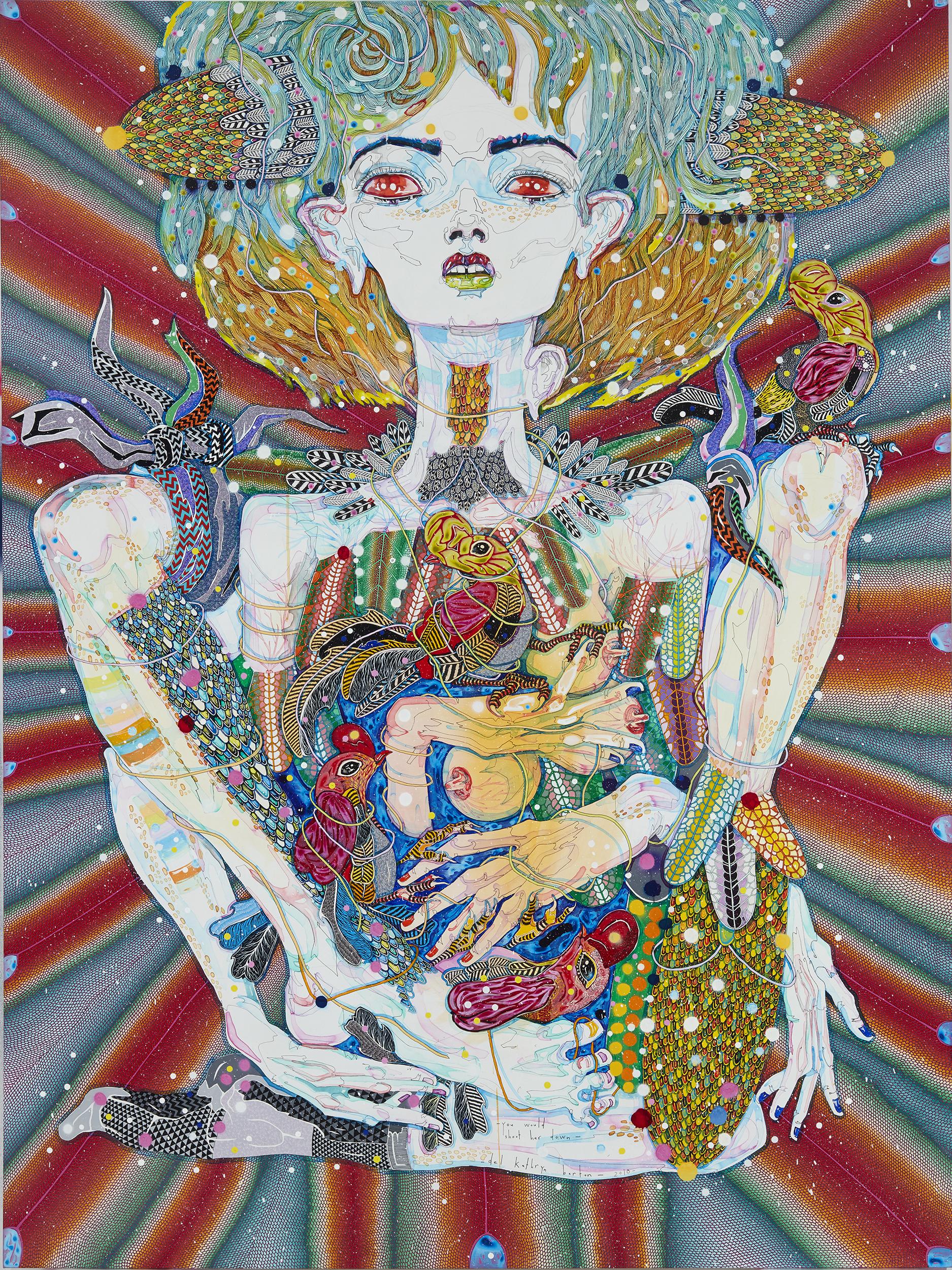 Del Kathryn Barton,  you would shoot her down , acrylique sur lin français, 240 x 180 cm, 2018. Courtoisie de l'artiste et A3