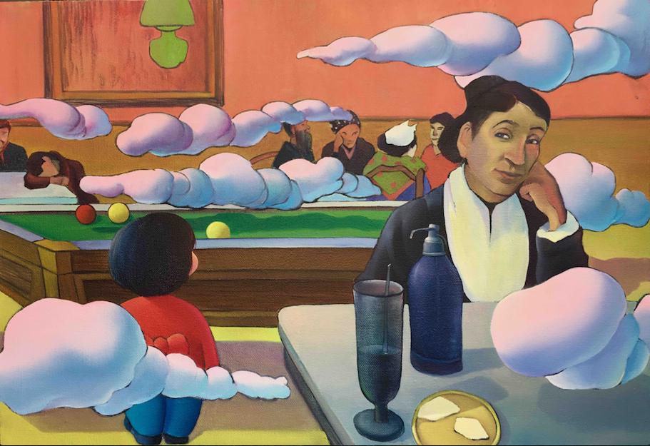 MA Dan,  Encounter in the coffee shop at night , 2017, huile sur toile, 110 x 130 cm. © MA Dan et AMY LI GALLERY