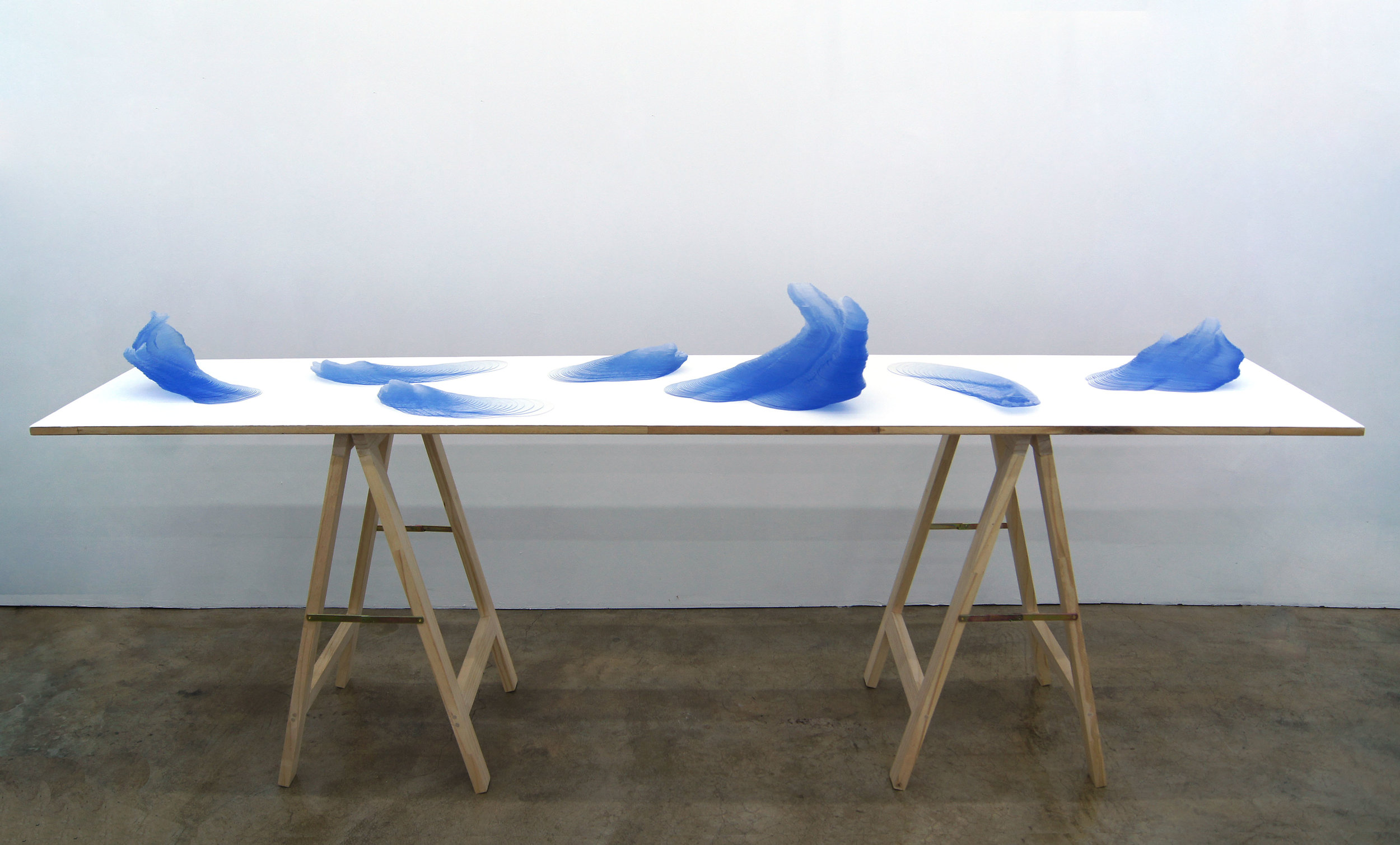 Kim Yunsoo,  Waves , 2018, Accumulating PVC, wood, paint, 244 x 50 x 100cm. Courtesy of the artist & Gallery SoSo.