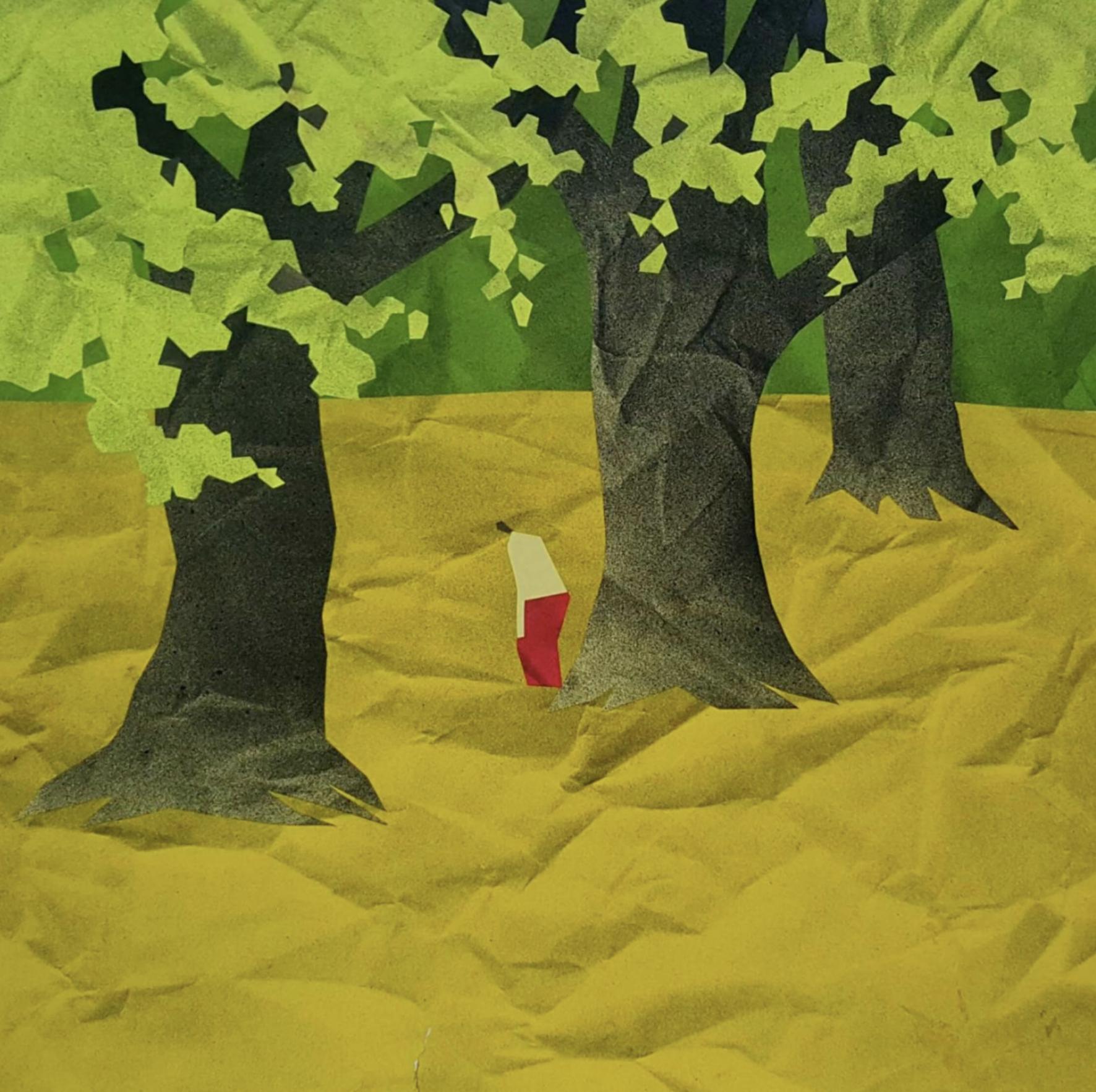 Min Zaw,  In the Garden , 2017, Acrylic Paper Collage, 38 x 38 cm. Courtesy of the artist & Art Seasons