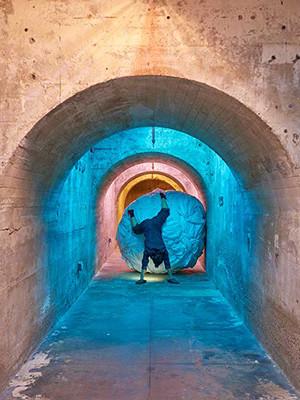 Installation view,  Aki Sasamoto: Delicate Cycle , SculptureCenter, 2016. Photo: Kyle Knodell. Courtesy Take Ninagawa, Tokyo