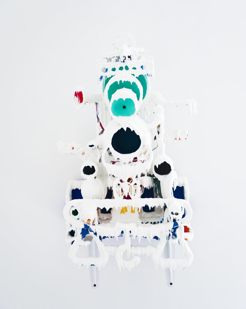 Teppei Kaneuji, White Discharge (Built-up Objects)#37 , 2014, wood,plastic,steel,resin, 78.7x49x38.1cm Photo: Ilja Tschanen, courtesy:Jane Lombard Gallery