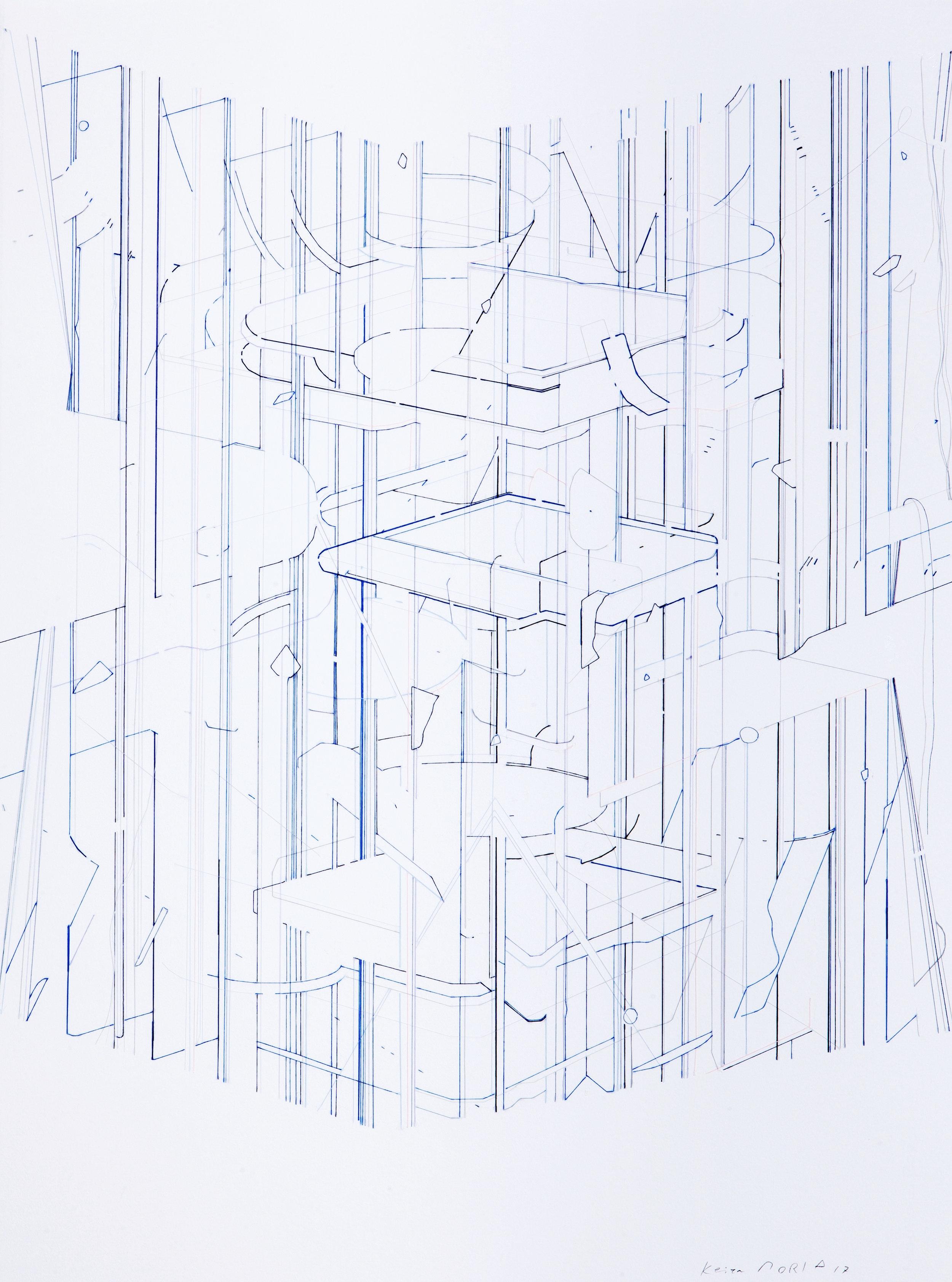 Keita Mori,  Bug report , fil de coton et fil de soie sur papier, 76 x 56 cm, 2017. Courtesy of the artist and Galerie Catherine Putman.