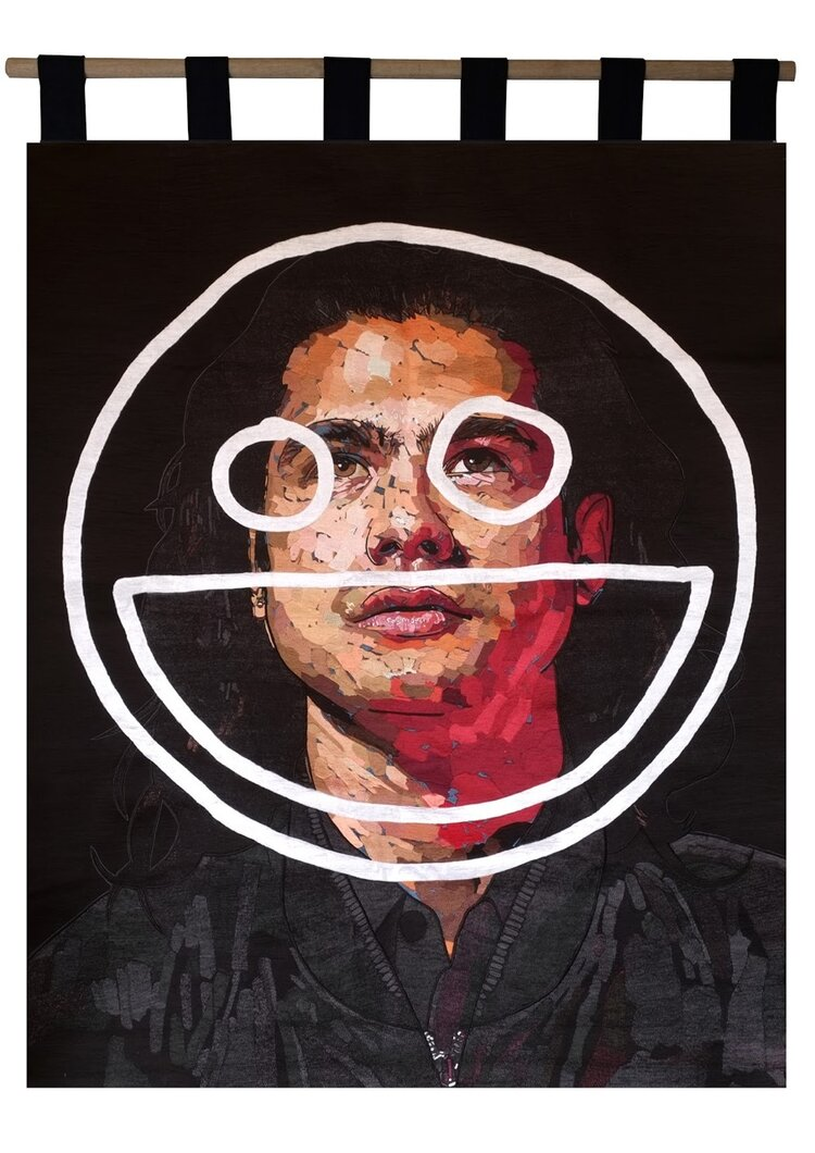 Abdul Abdullah,  You can call me impatient , 2018, manual embroidery made with the assistance of DGTMB Studios, 150 x 120 cm. Courtesy of the artist and Yavuz Gallery.