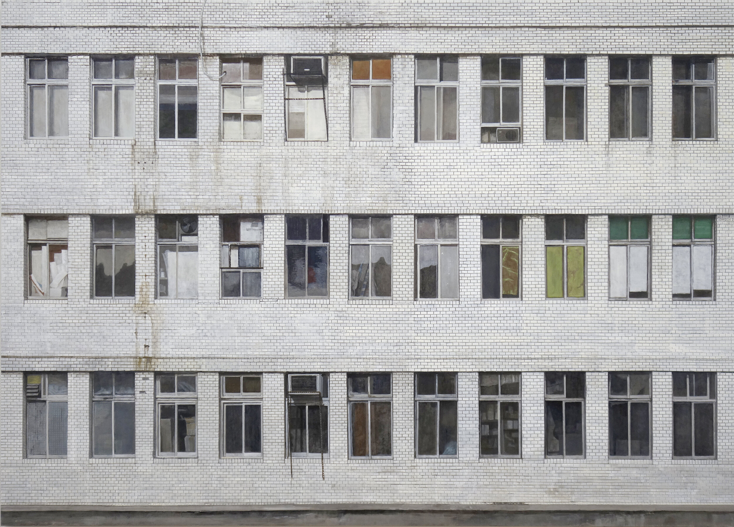 Jung Jae-ho,  Hwanggum Building , 2019, 149x209cm, Acrylic on Korean paper, Courtesy of the artist and Choi&Lager Gallery.