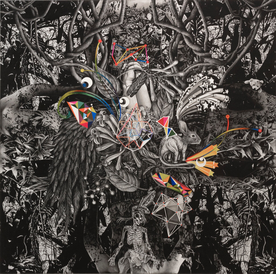 Bestrizal Besta,  kekuatan  (strength), 2018, Charcoal and acrylic on canvas, cm 200 x 200. Courtesy of the artist and Primo Marella Galleries - Milano & Lugano.