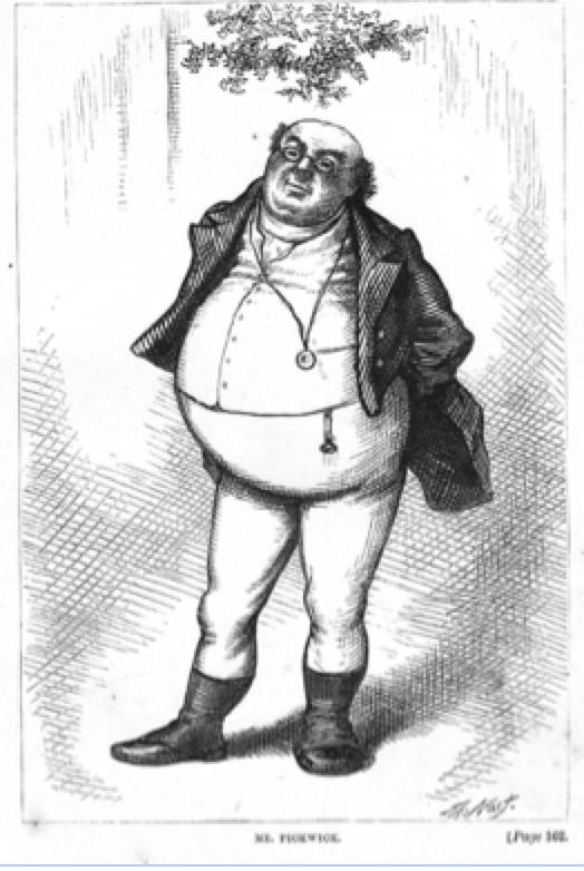 Figure 1: Mr Pickwick a character of Charles Dickens. He had features consistent with severe obstructive sleep apnoea in the story, and gave rise to the term Pickwickian Syndrome. This describes severe breathing and sleep disorders in the severely obese. It is usual that someone who is as overh=weight as the image we see will snore. Without losing weight, all other treaments are bound for failure