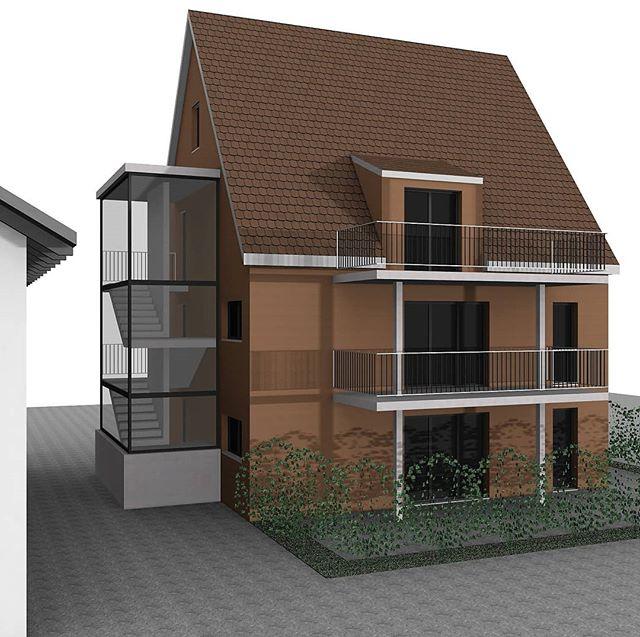 Vorabzug im Entwurfprozess eines Objektes im Dorfkern - Mehrfamilienhaus mit 3 Wohnungen  #planbude #architektur #planung #entwurf #visualisierung #3ddruck