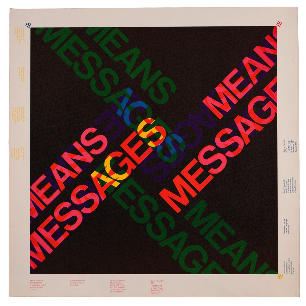 """Cooper's """"Messages and Means"""" poster. An inscription in the lower left hand corner reads """"Explorations of multiple forms of visual and verbal communication in print."""""""