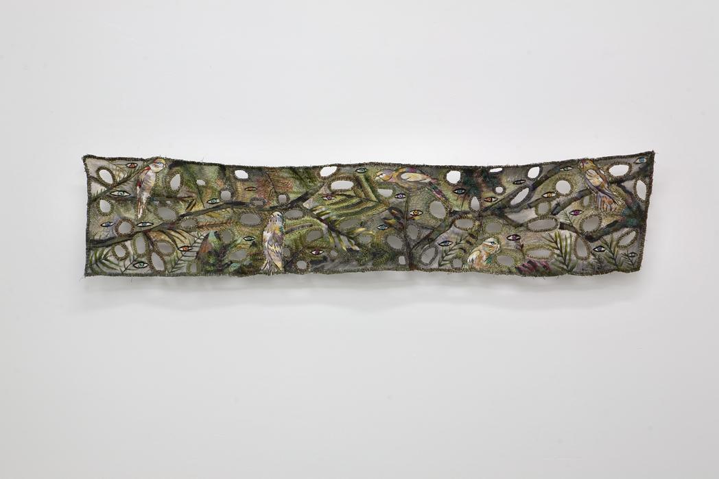 "Zoi Gaitanidou: ""Alert"", 2009 Acrylic and thread on canvas 152 x 30 cm"