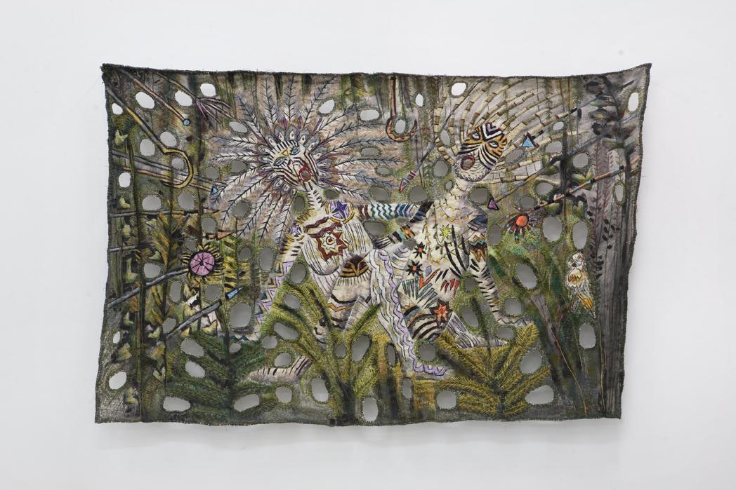 "Zoi Gaitanidou: ""Division"", 2009 Acrylic and thread on canvas 97 x 144 cm"