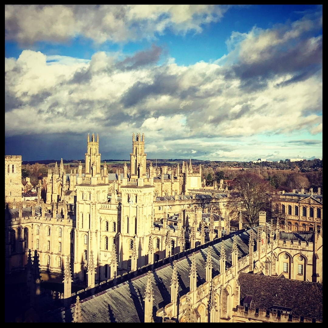 Oxford, the city of dreaming spires, as seen from tower at St. Mary's Church.