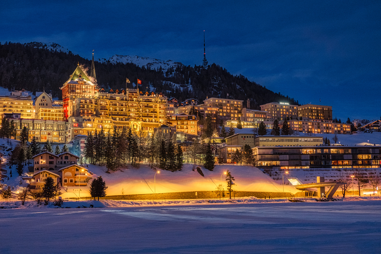 St. Moritz at night showing a few of its frequently reviewed hotels.