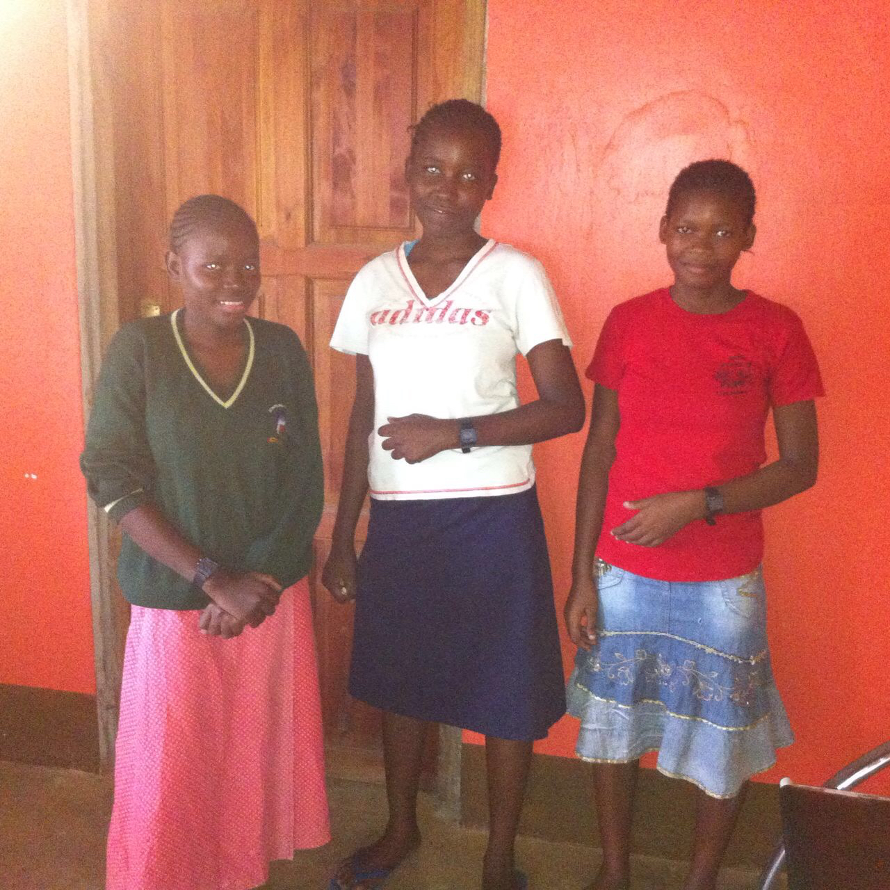 The girls with their new watches - Left to right - Tamira, Linet, Peris.