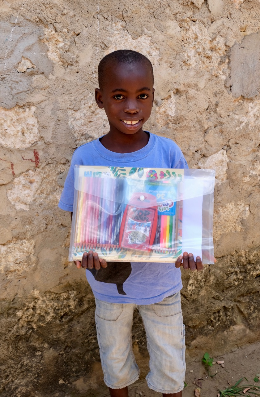 Saidi with his gift from his sponsors