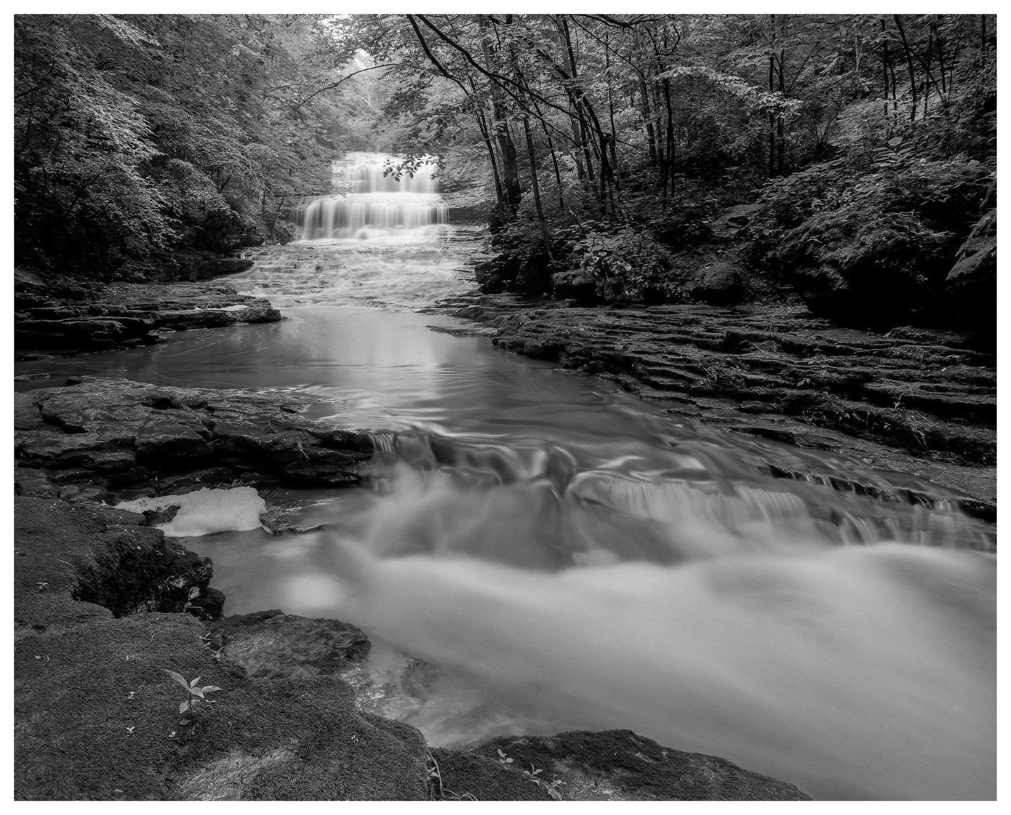 Fallsville Falls – Mamiya RB67 ProS w/50mm lens, polarizer, and 4-stop ND filter on Kodak Tmax 100 film @ f/16, 45 seconds