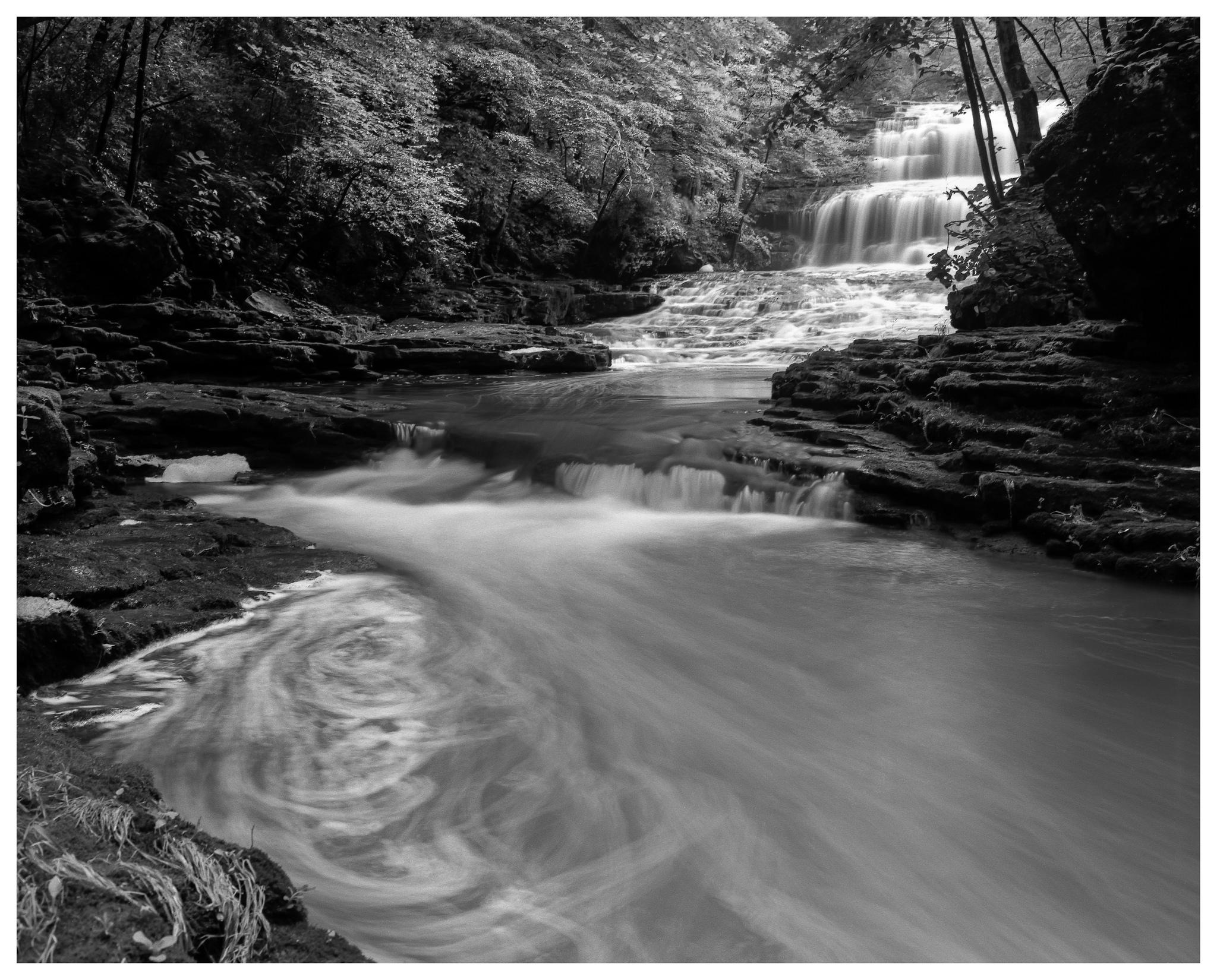Fallsville Falls – Mamiya RB67 ProS w/50mm lens, polarizer, and 4-stop ND filter on Kodak Tmax 100 film @ f/16, 60 seconds