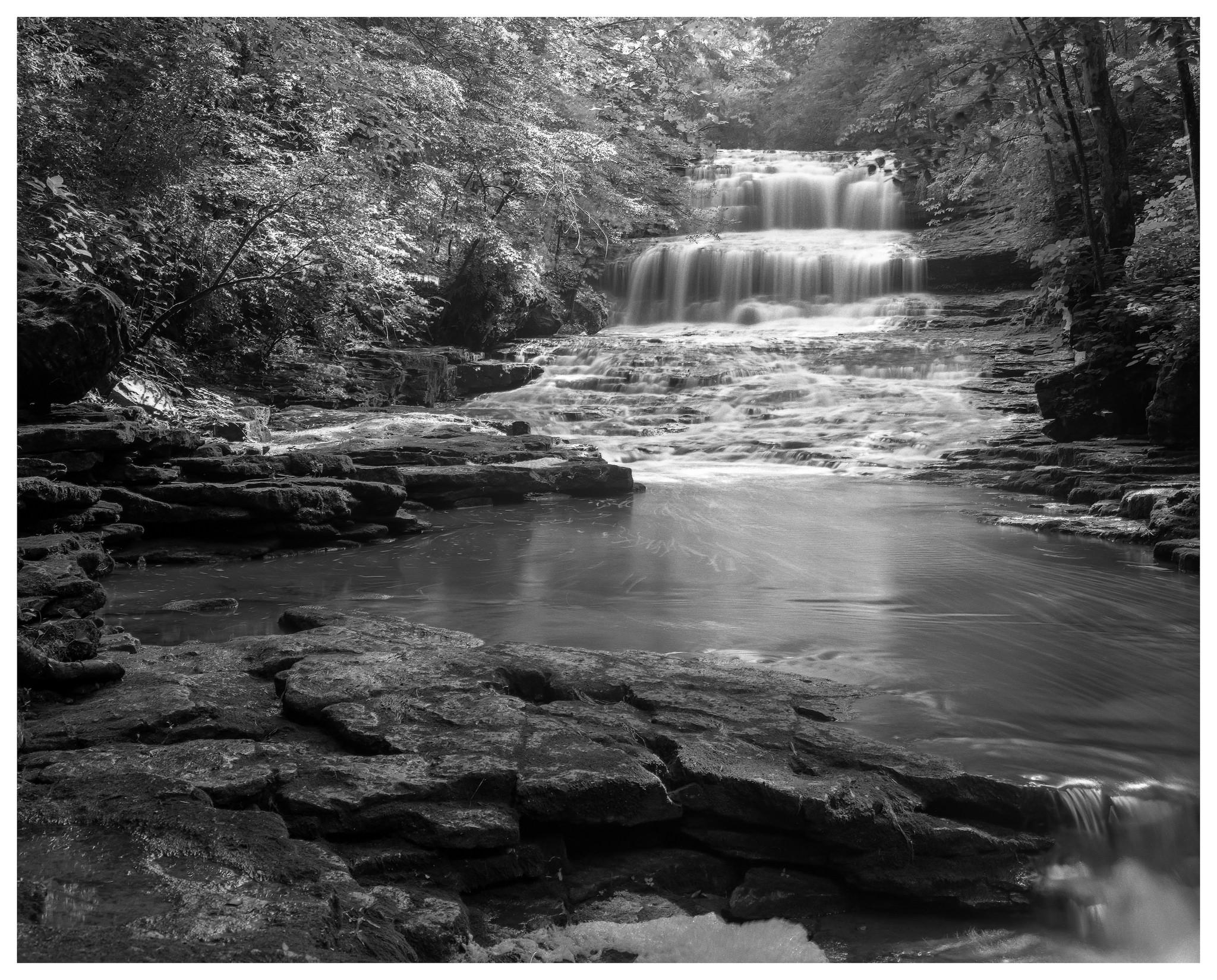 Fallsville Falls – Mamiya RB67 ProS w/90mm lens, polarizer, and 4-stop ND filter on Kodak Tmax 100 film @ f/16, 45 seconds