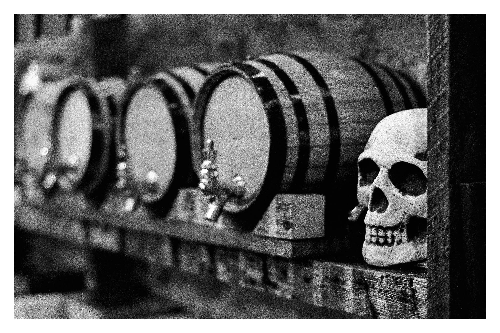 Skull and Taps in Toxic - Nikon F5 with 50mm f/1.4 lens at f/2.8 in A-Priority mode on Kodak TMAX P3200 film