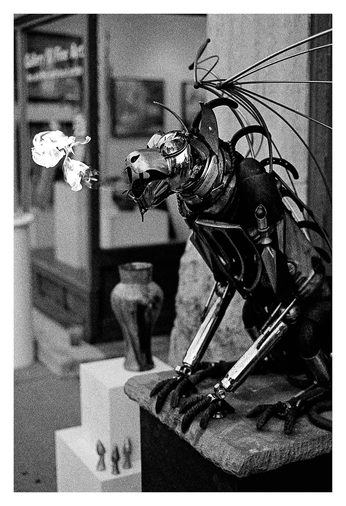 Flame-breathing Gargoyle - Nikon F5 with 50mm f/1.4 lens at f/2.8 in A-Priority mode on Kodak TMAX P3200 film