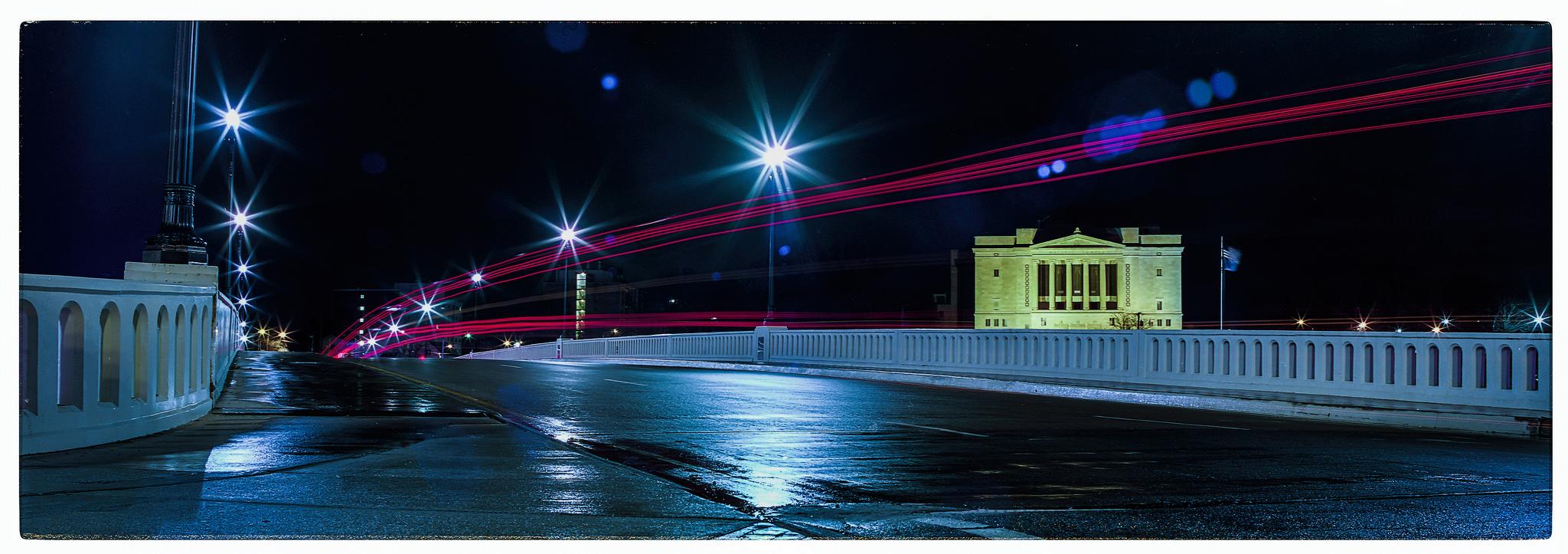 Monument Avenue Bridge long exposure. Mamiya RB67 ProS on 35mm Ektar film