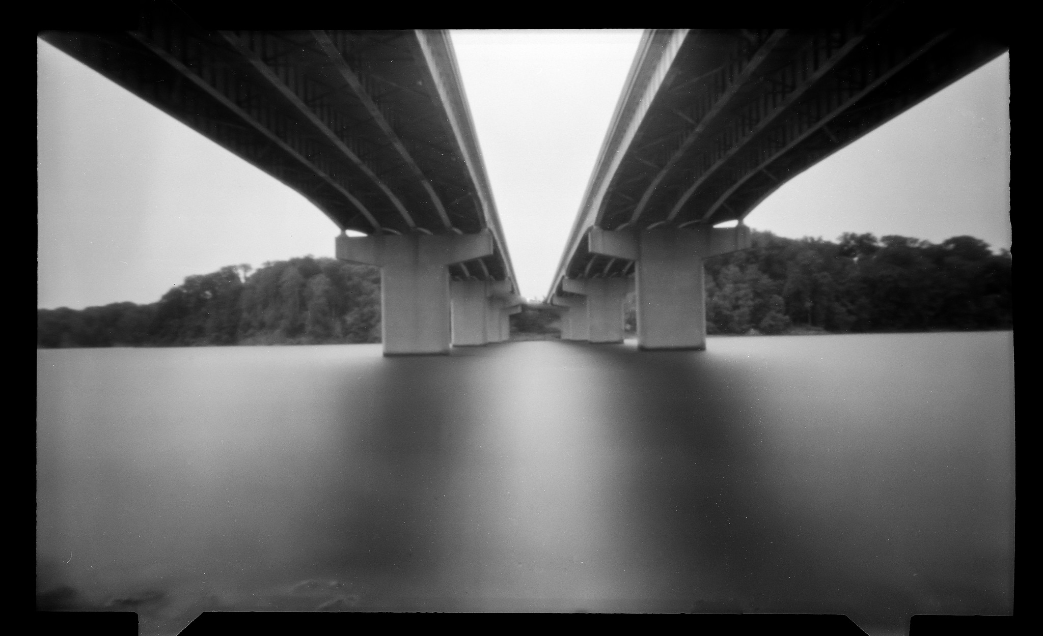 SR73 - 30 minute exposure in the pouring rain and torrential wind with a pinhole film camera. Basically a wooden box with a small hole and film inside.
