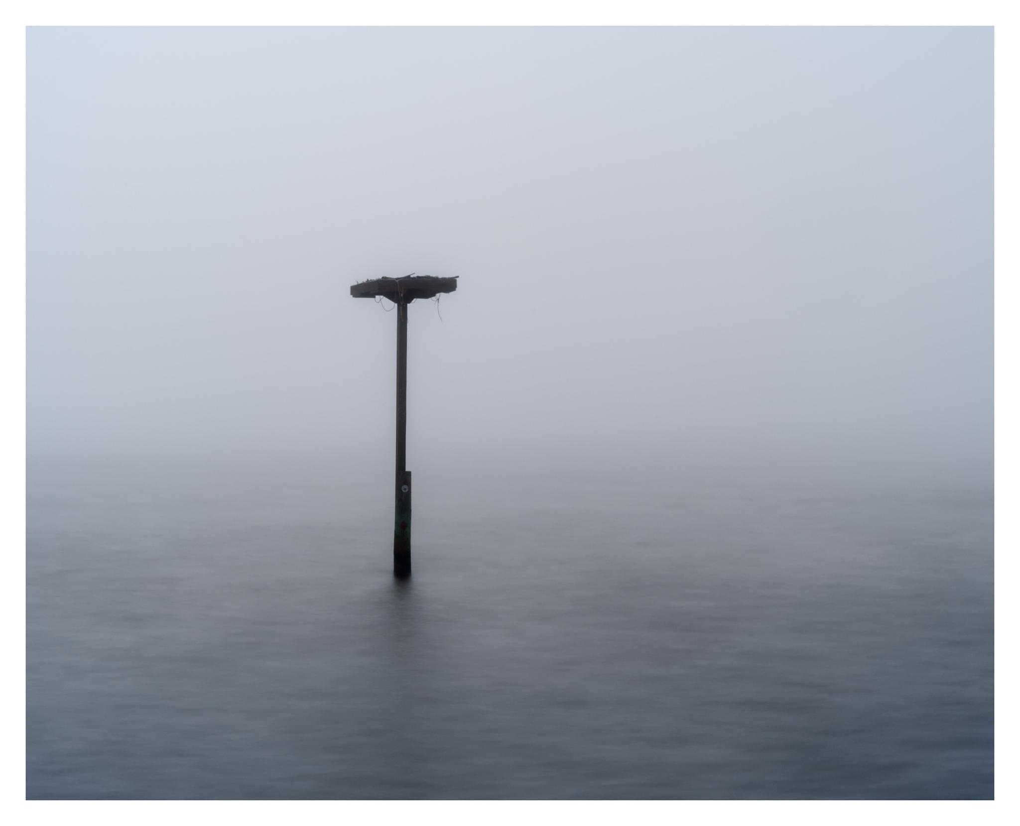 Osprey Nest Platform in the Fog - Nikon D750 w/80-400mm lens, long exposure