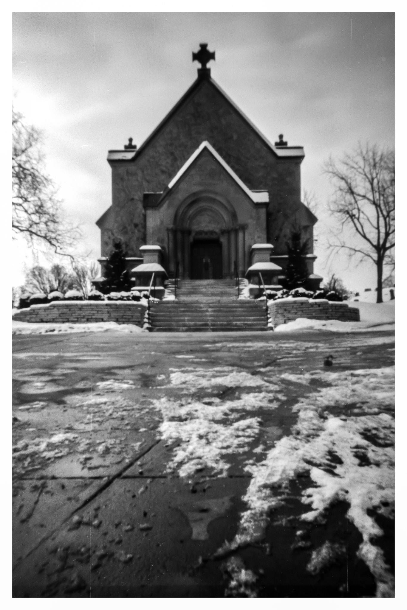 Chapel at Calvary Cemetery - NOON 612 Pinhole on Fuji ACROS 100 film