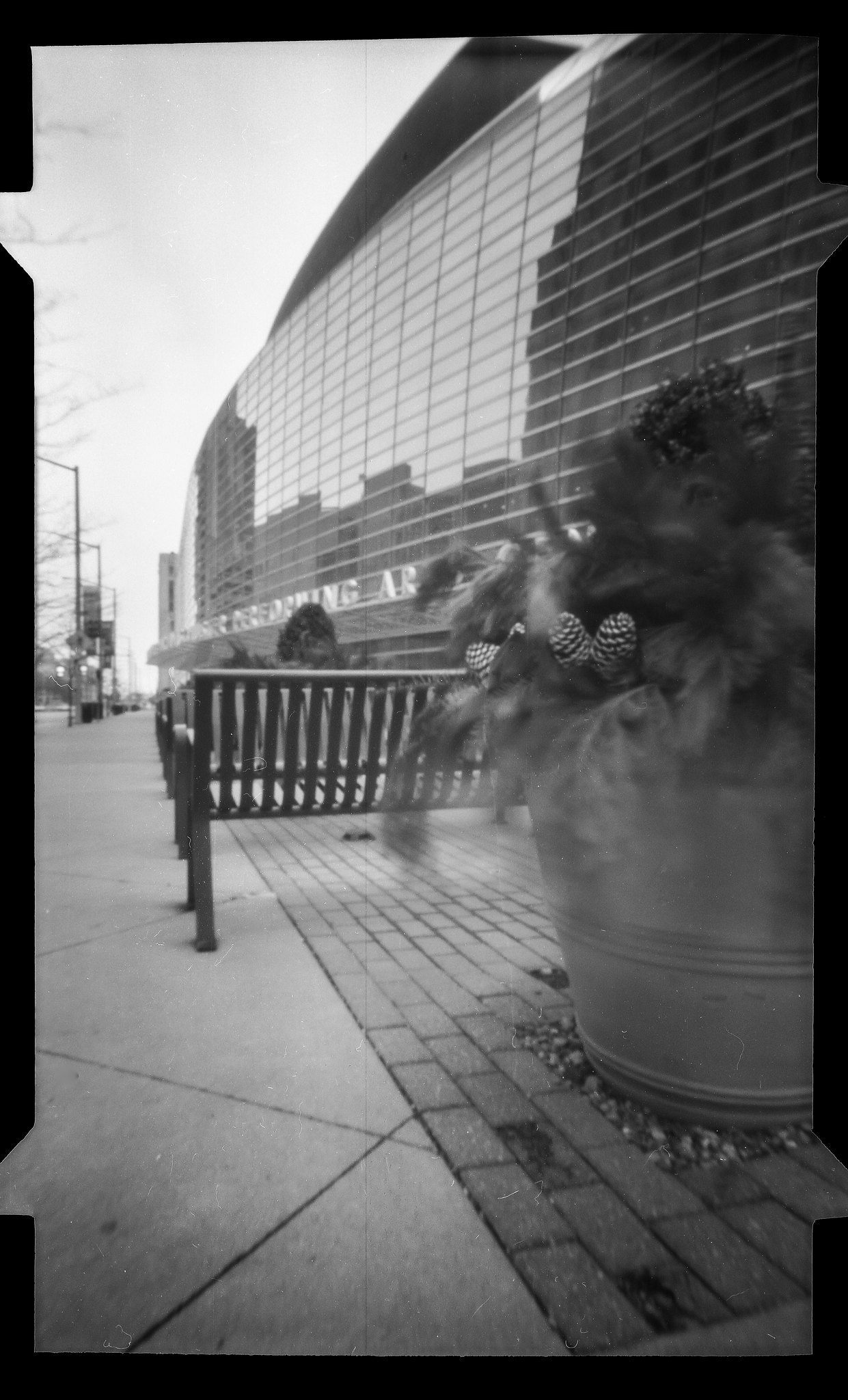 Schuster Center, Dayton on a windy morning - NOON 612 Pinhole Camera on Fuji ACROS 100 film