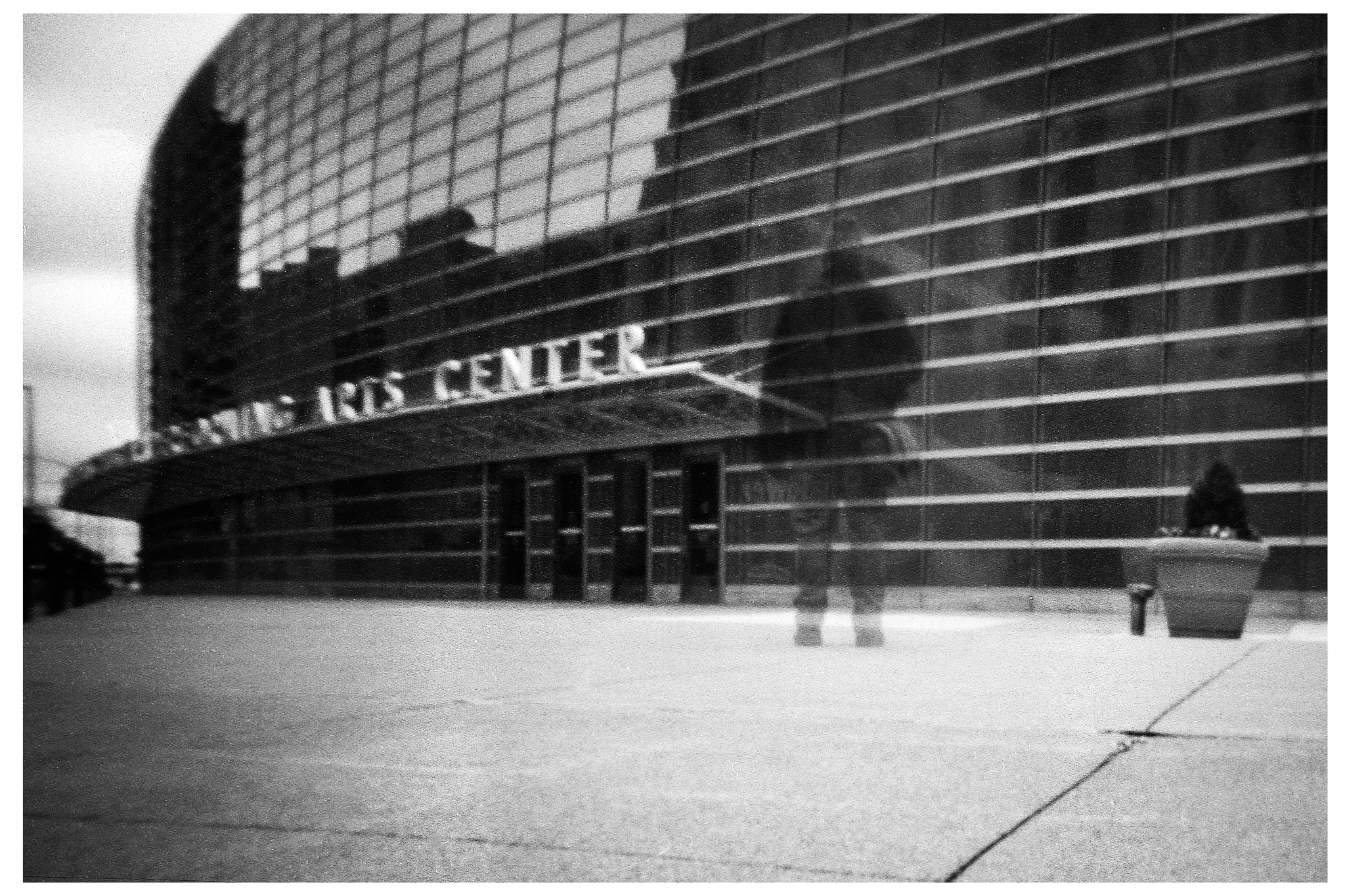 Ghost Selfie in front of the Schuster - NOON 612 Pinhole with HP5+ film