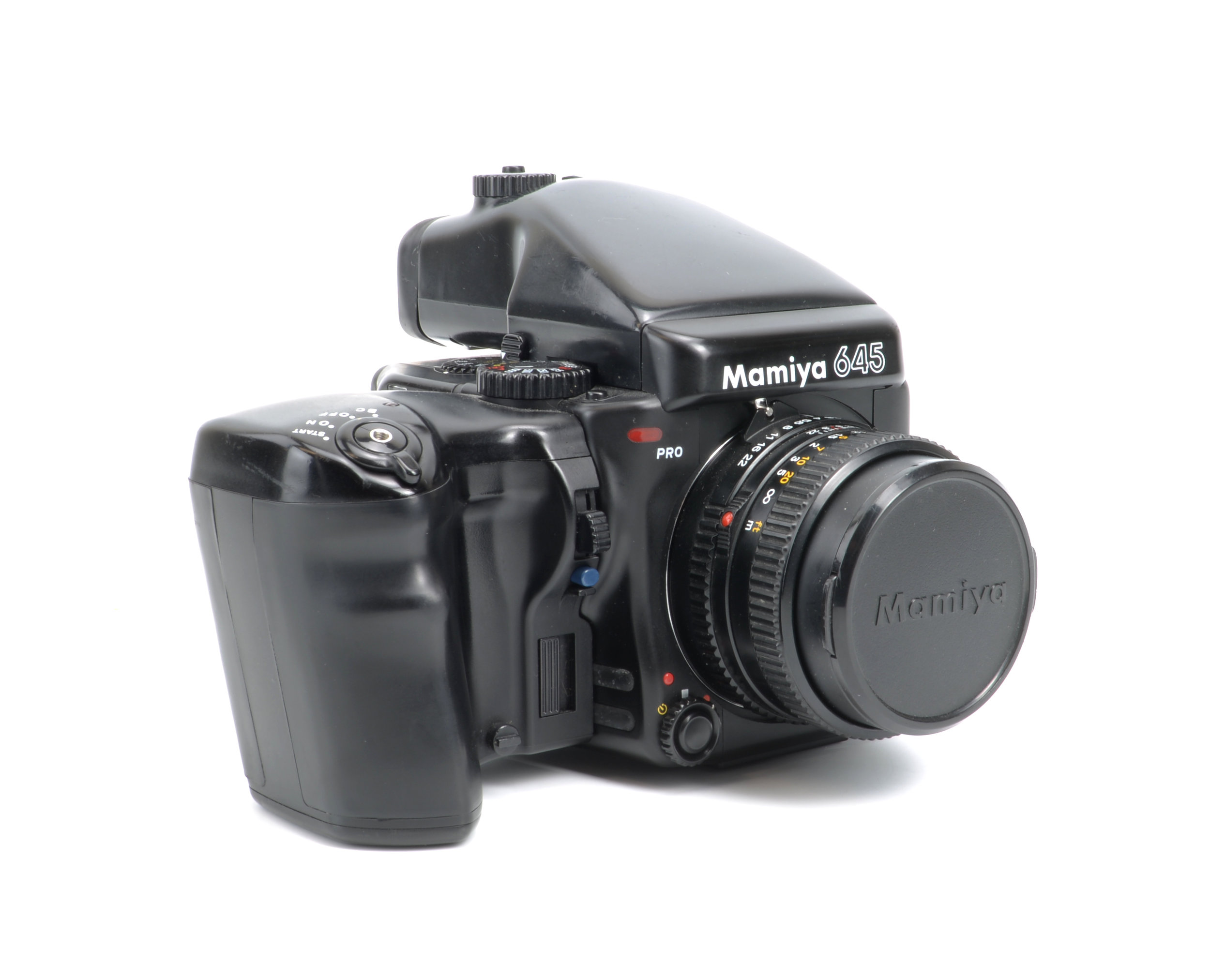 My Mamiya 645 Pro with grip and metered prism finder. This is a nice, fairly compact medium format set-up that works great for street photography. Drawbacks? Manual Focus and weight.