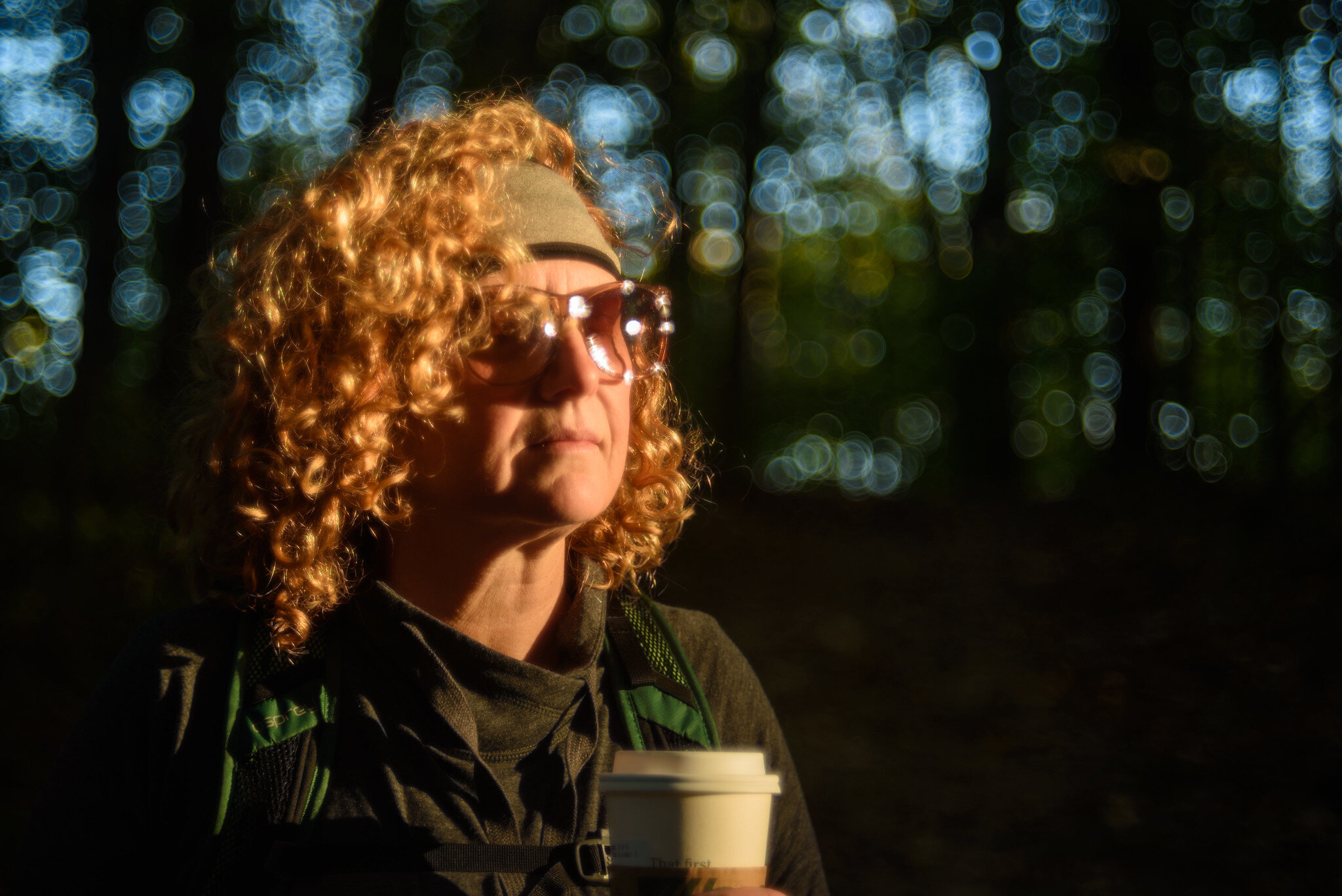 Renee hiking at Germantown Reserve last weekend. This was just after sunrise, and the sun was putting a shaft of light thru the trees lighting her. Shot at approximately f/5.6. Note the swirly Bokeh balls in the background and how they become a little more oblong at the edges. This is a characteristic of both lenses to varying degrees. Renee hates this shot so don't tell her I used it.