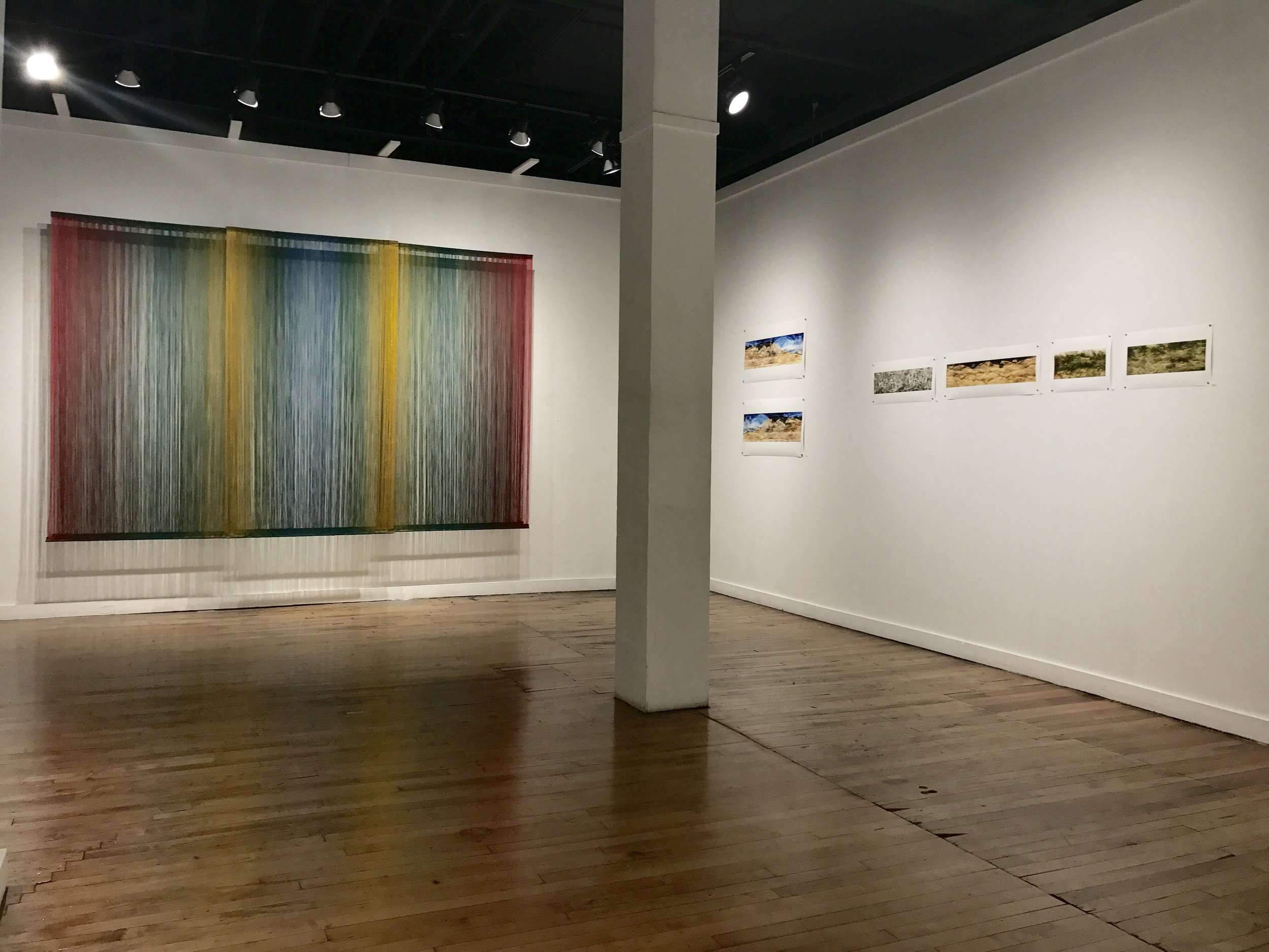 SANCTUARIES; A Print and Sound Installation by Kristine Barrett with Woven Textiles by Debbie Barrett-Jones   Leedy-Voulkos Art Center   Kansas City, MO