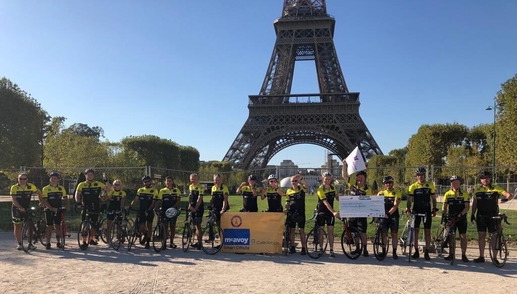 The challenge is complete. - The Blackpool Tower to the Eiffel Tower challenge is complete. Over 750 km of black stuff covered plus some cobbles and off road thrown in for God's measure! Great experience, great team and great people. Thanks for everyone's support. Raising money for the Transformation Trust.