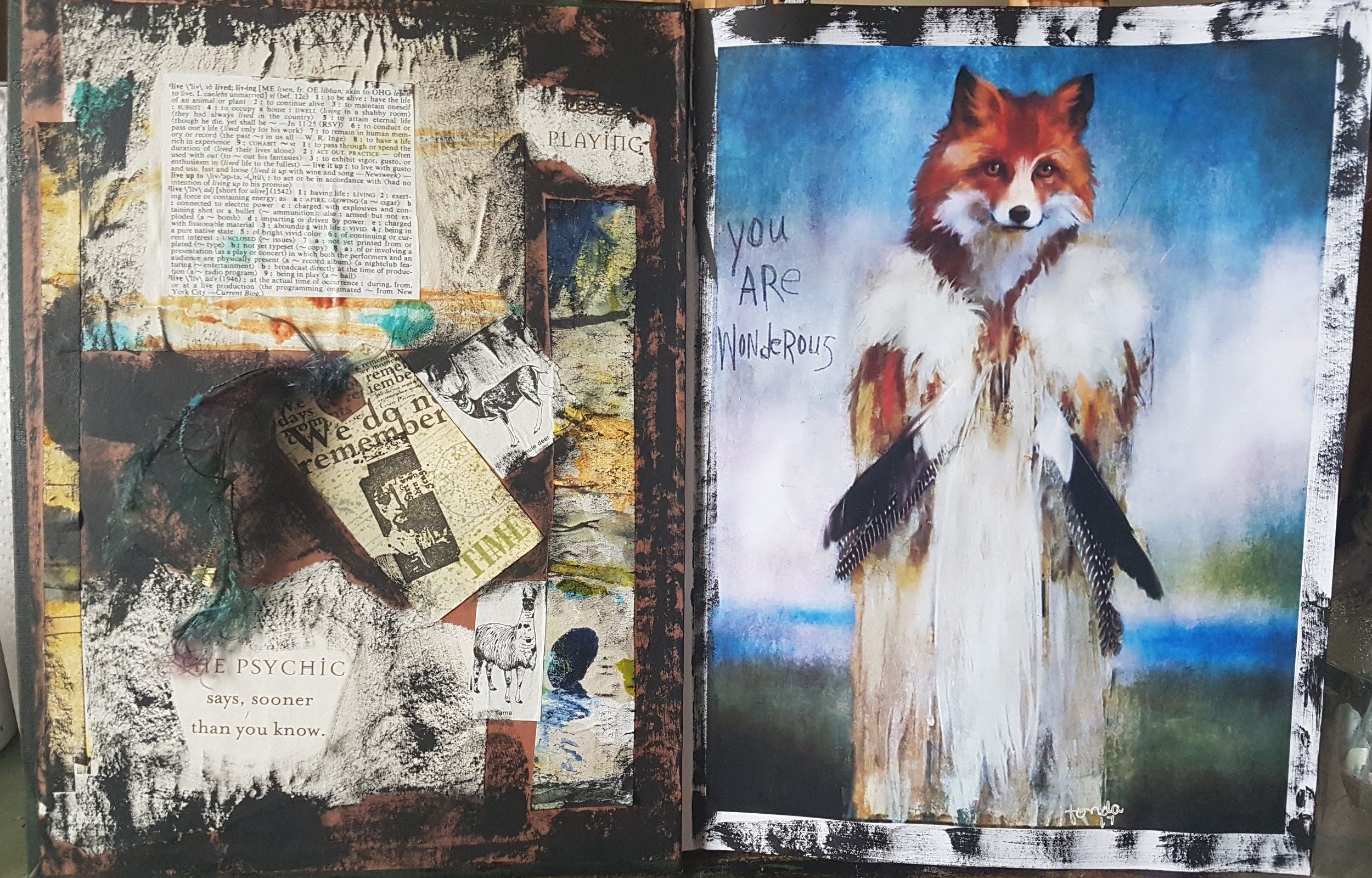 lynn wilson - Journal Inside Front Cover with Fondas You Are Wondrous piece and left side with mementos from Fonda .jpg