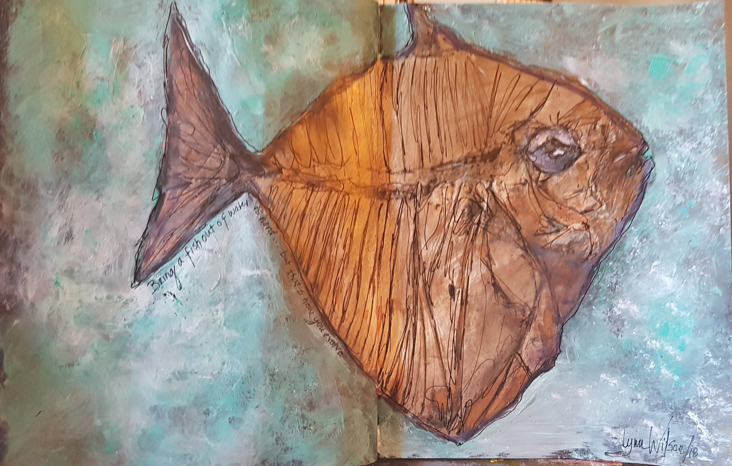 lynn wilson - Journal Two Being a fish out of water March 11 2018 full spread .jpg