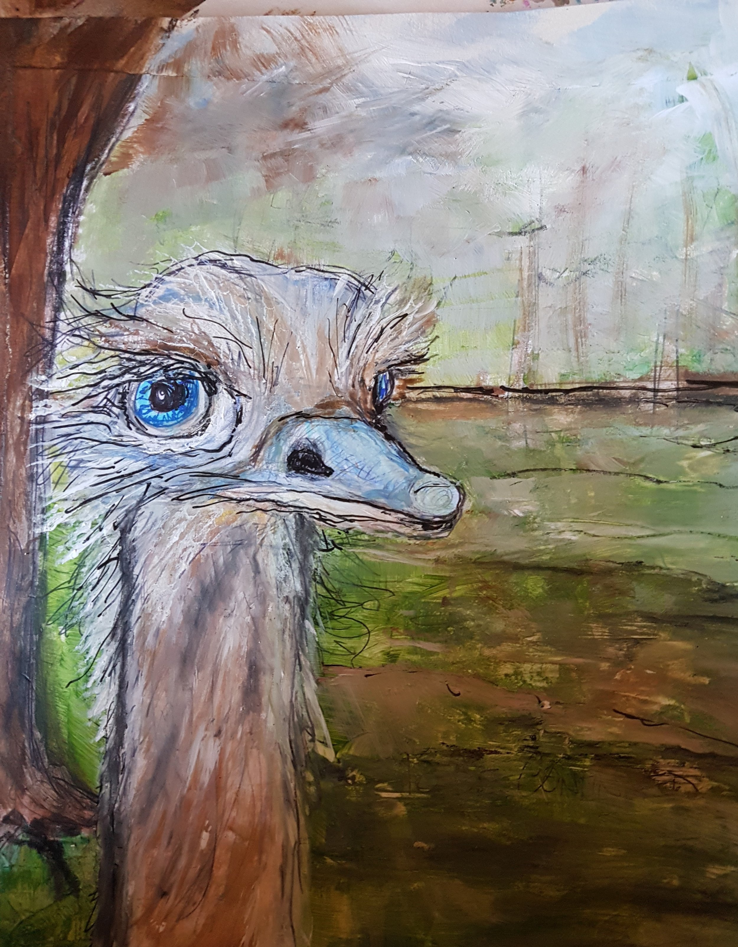 Fondas Animal Challenge Emu Painting finished (2).jpg