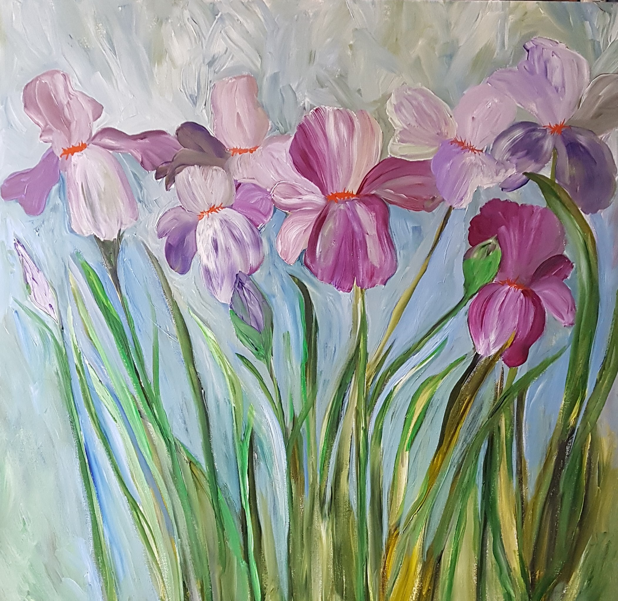 Irises 36x36 WIP  close up    Hurry Up Spring .jpg