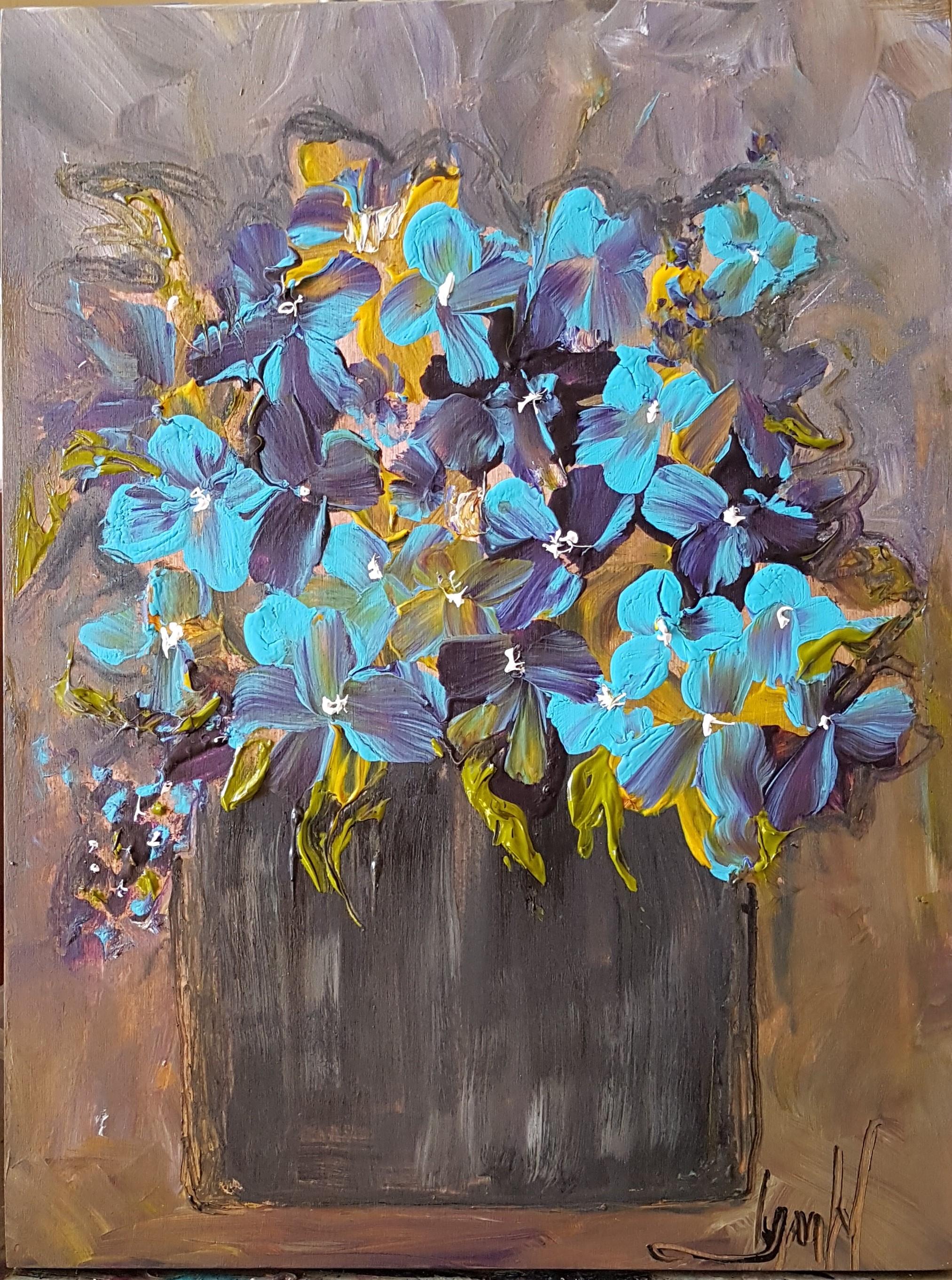 Flowers Series #15 Blue Black White Purple in Black Vase Wood Cradle Panel 9 x 12 March 2019 .jpg