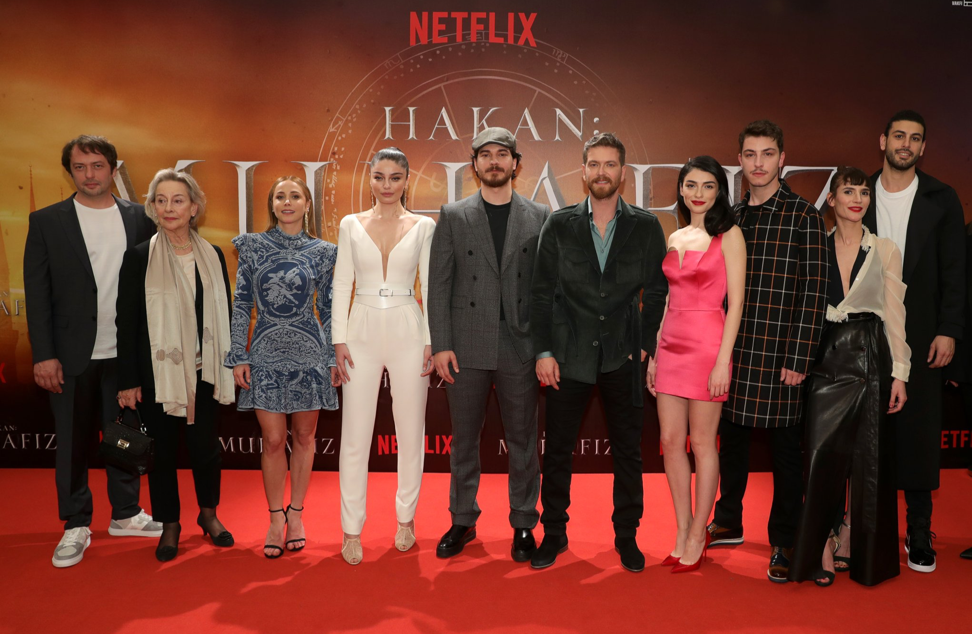 Hazar with the other cast members at the season 2 premiere.