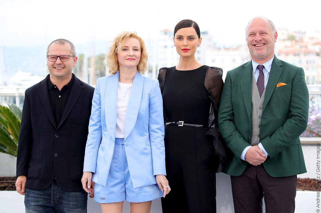 Vlad (R), with (from left) Director Corneliu Porumboiu, Rodica Lazar, and Catrinel Marlon.