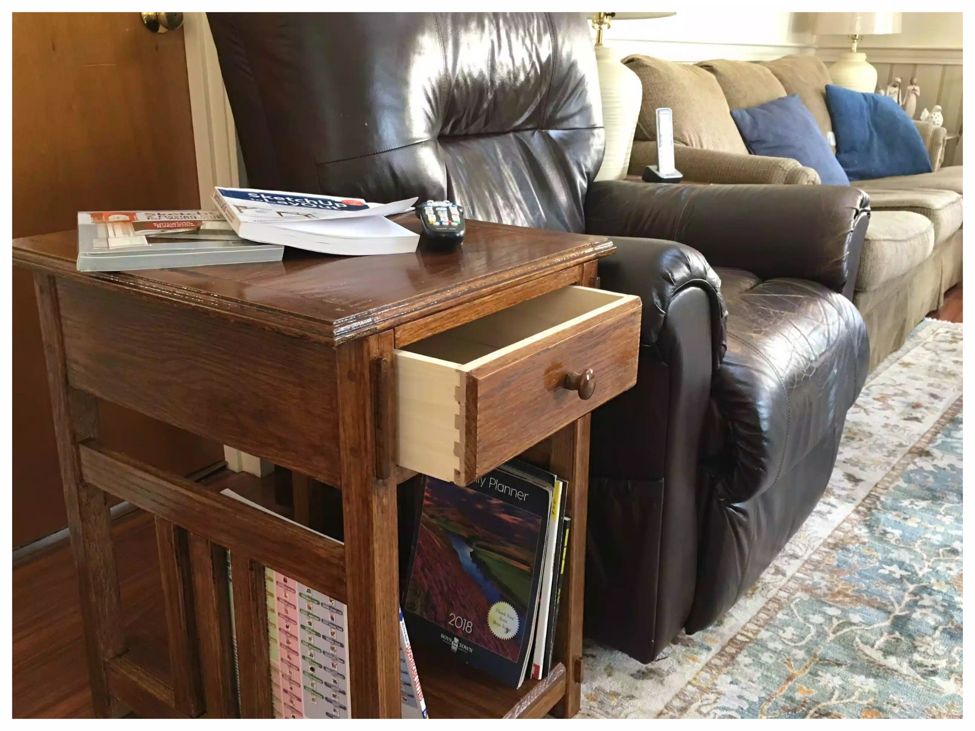 Solid Oak End Table - Completed