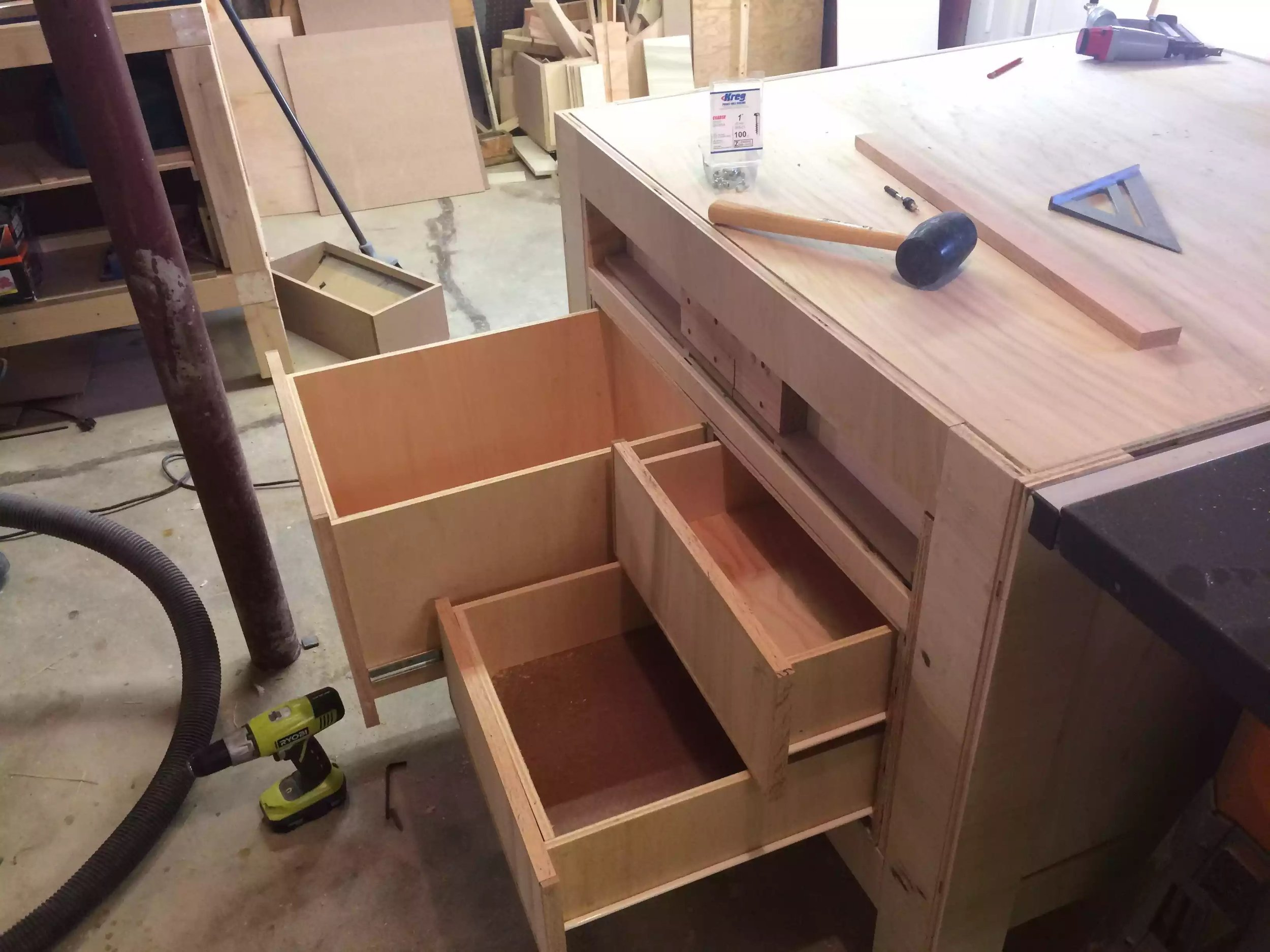 3 Drawers on the left side