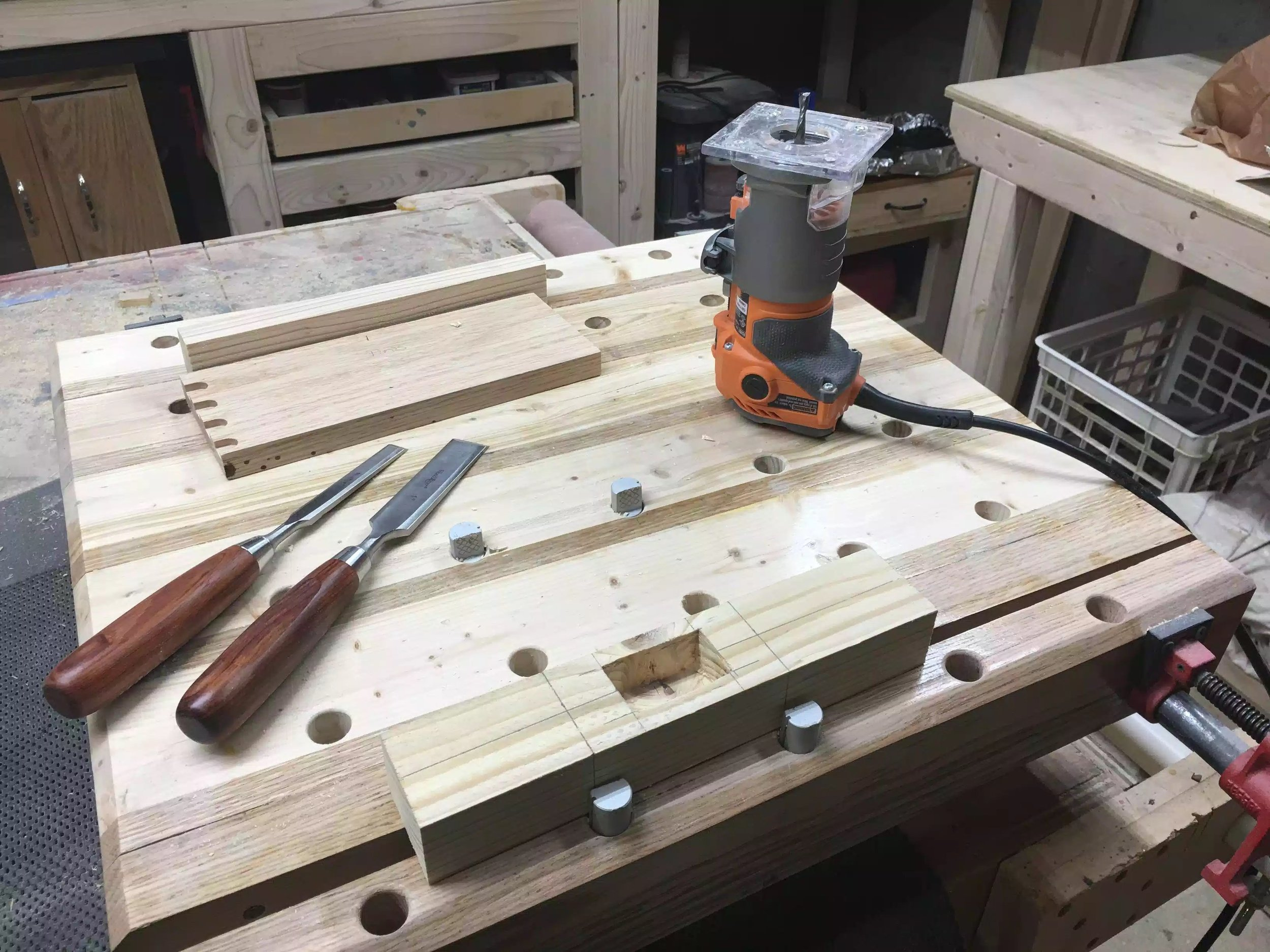 Here I just hogged out most of the mortise using my palm router and then I used my chisels to square the mortise corners.