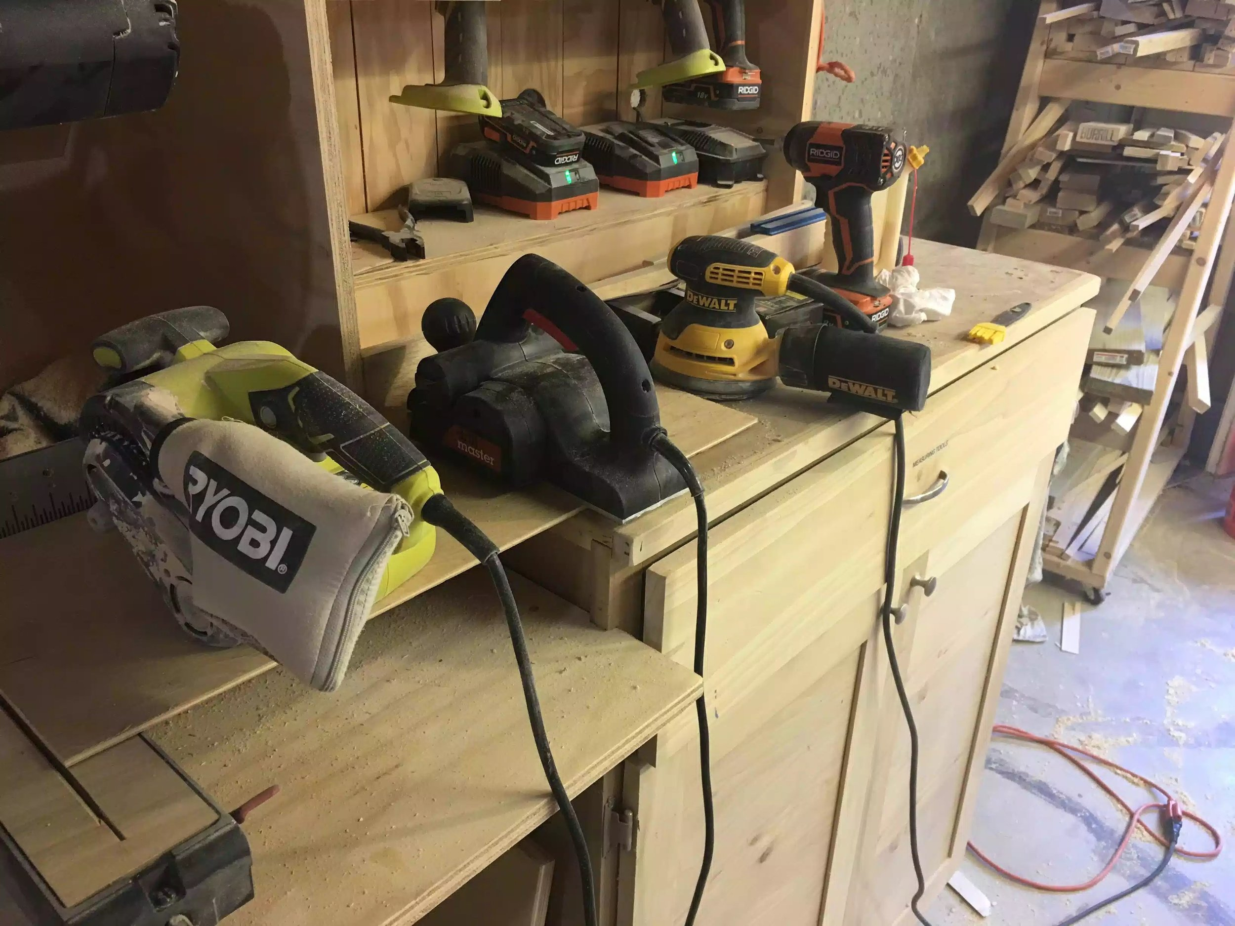 Here are my sanding tools and a hand planer.