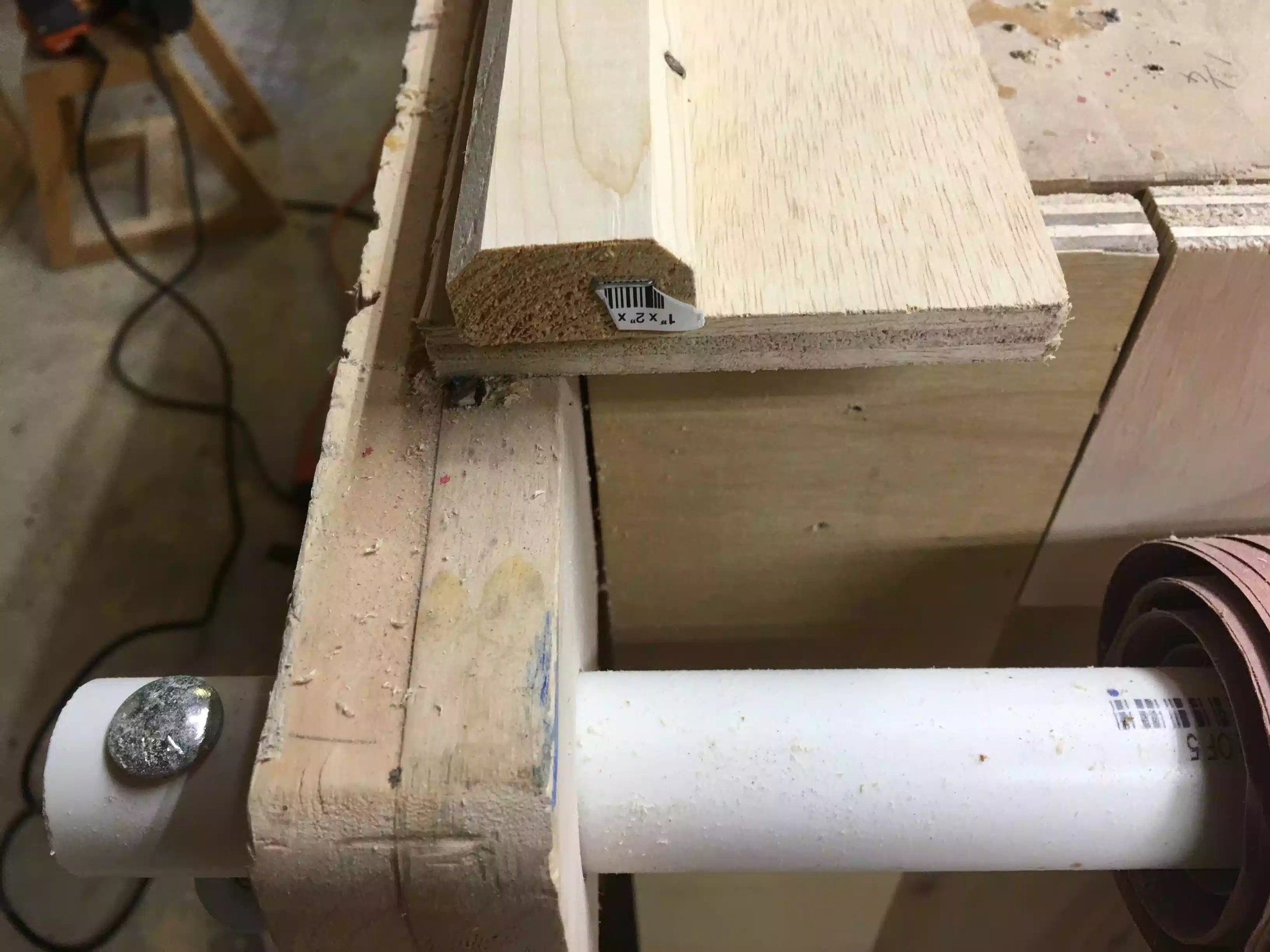 Here you can see the chamfer profile on the end of the 8' length, next to the miter saw station to cut them all down.