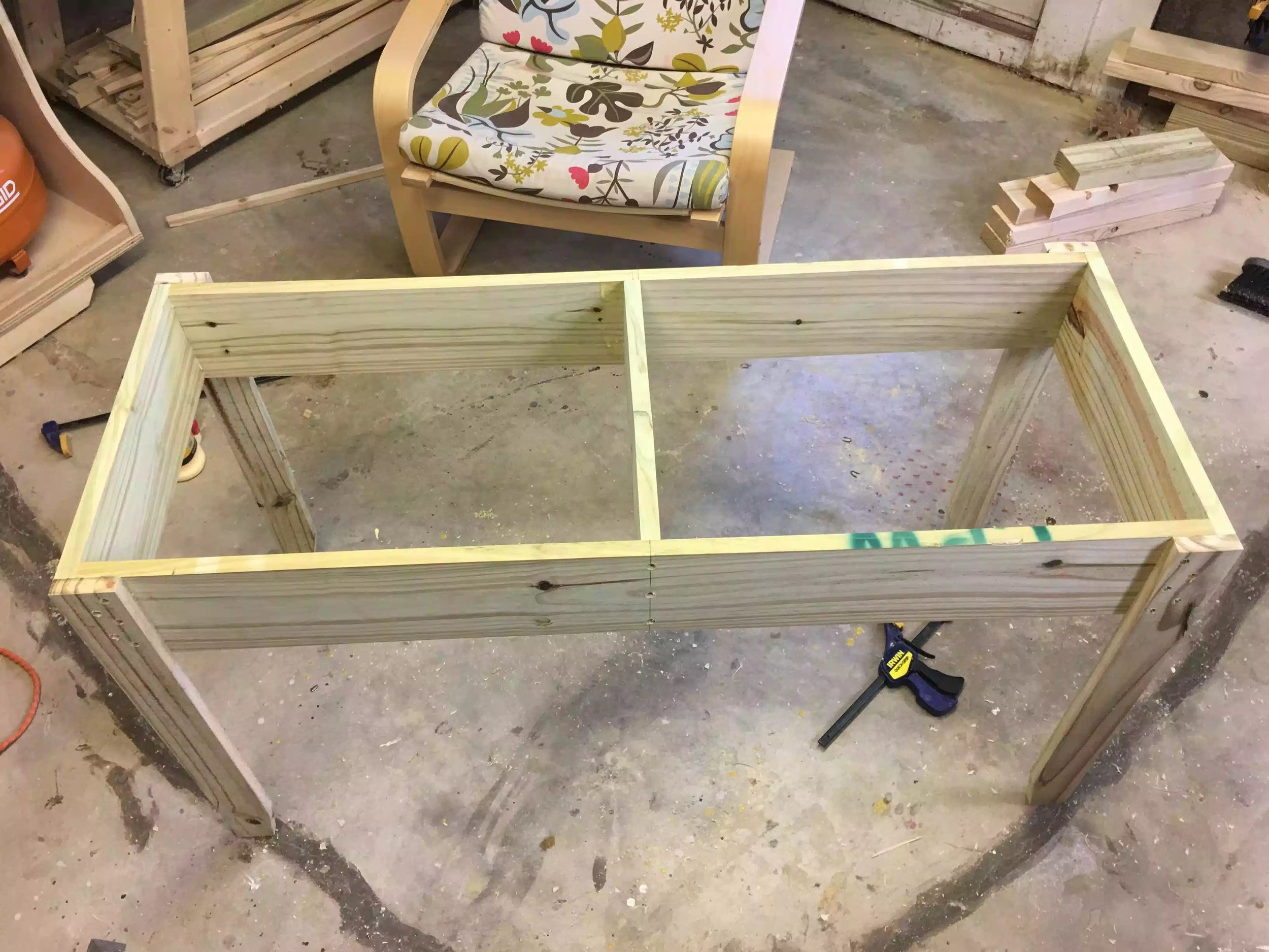 Here is as far as I got today the top frame and legs made and atatched.